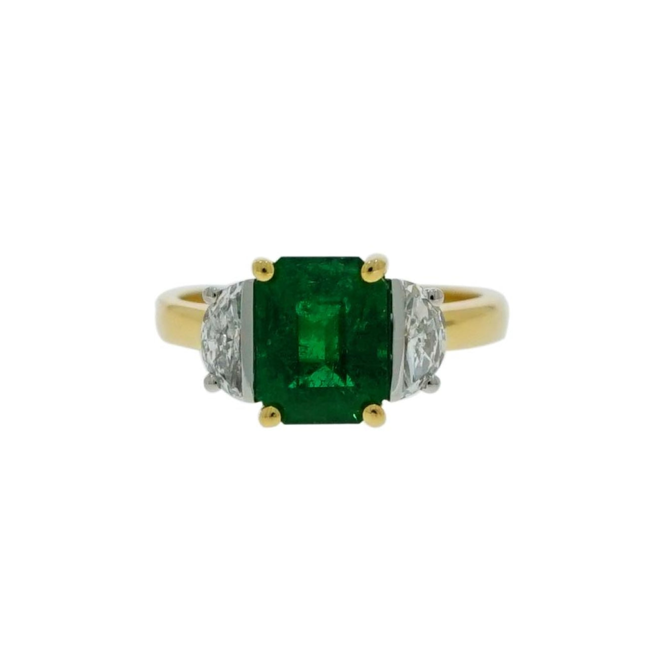 Estate Jewelry Estate Jewelry - Emerald and Diamond Yellow Gold 3 Stones Ring | Manfredi Jewels