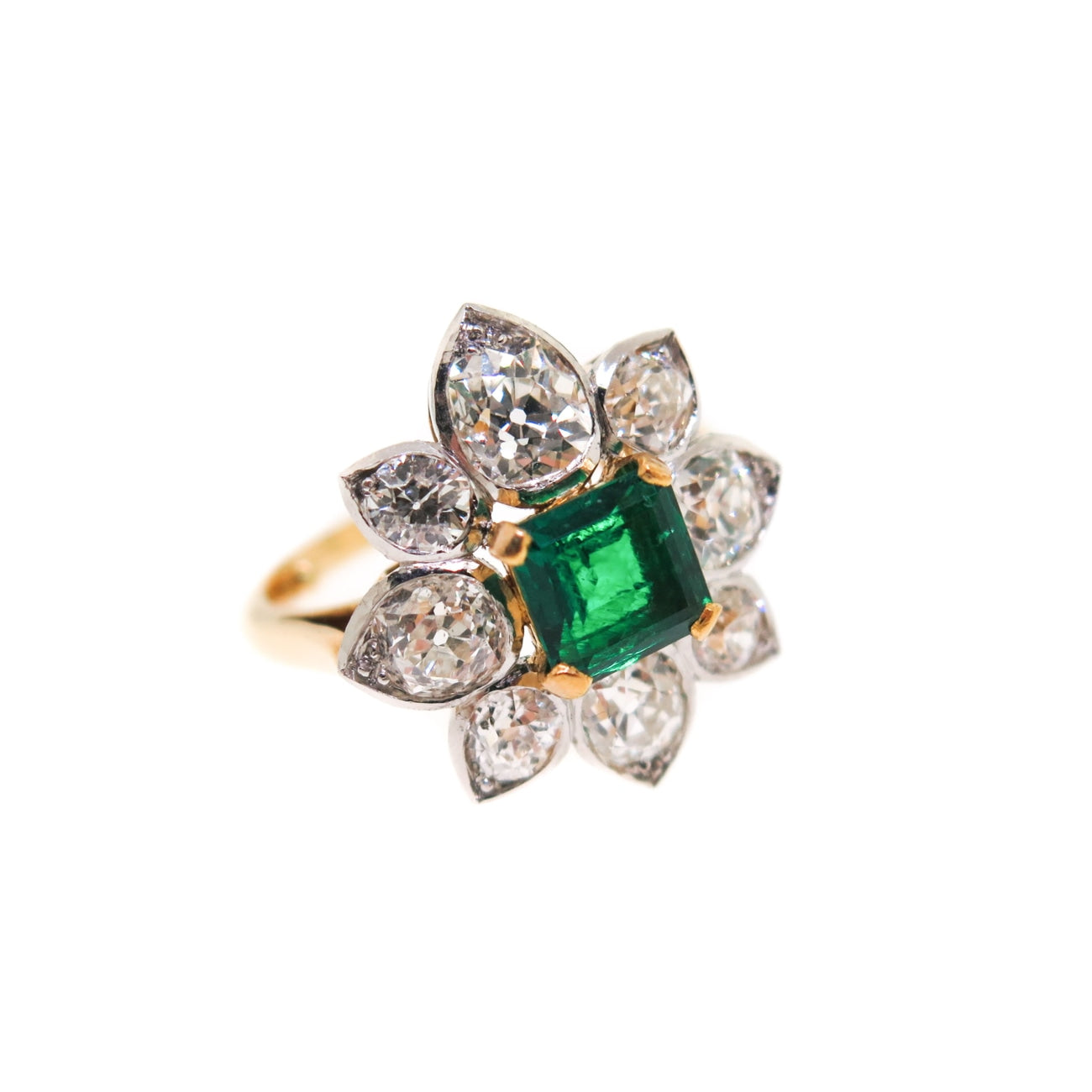 Estate Jewelry Estate Jewelry - Emerald & Diamond Flower Ring | Manfredi Jewels