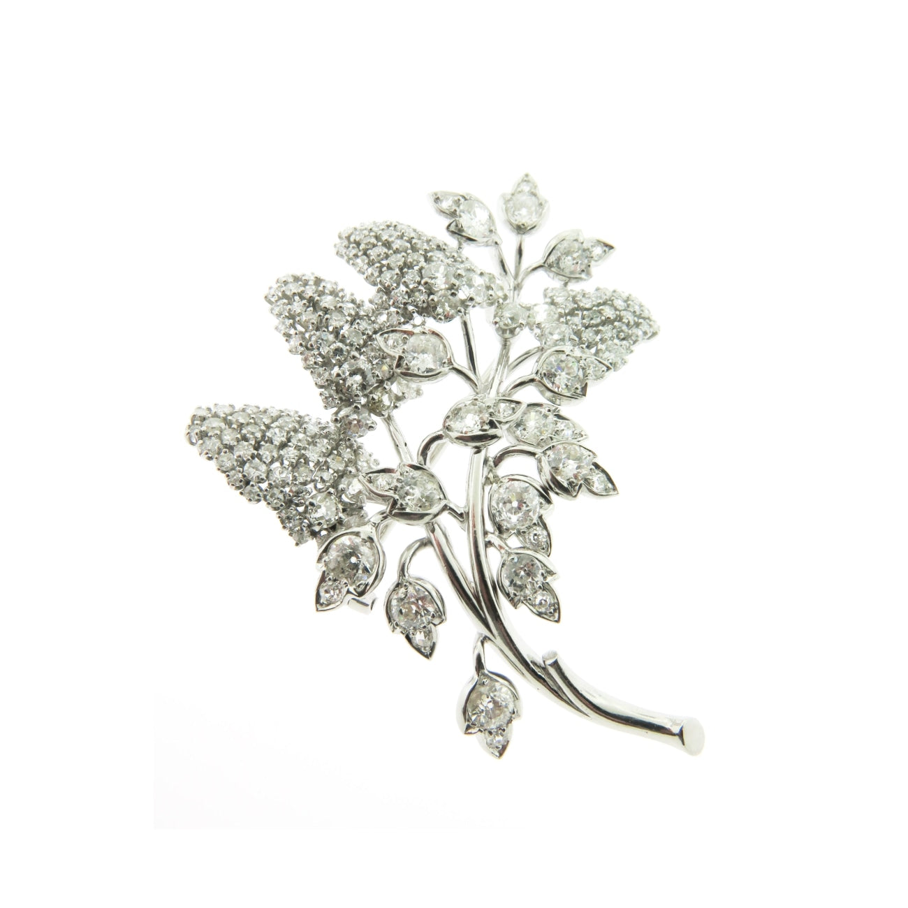 Estate Jewelry Estate Jewelry - Grape Vine Diamond White Gold Brooch | Manfredi Jewels