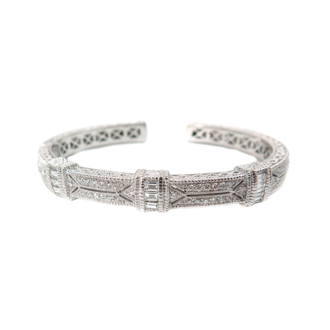 Estate Jewelry Estate Jewelry - Judith Ripka Pia Diamond Pave White Gold Cuff Bracelet | Manfredi Jewels