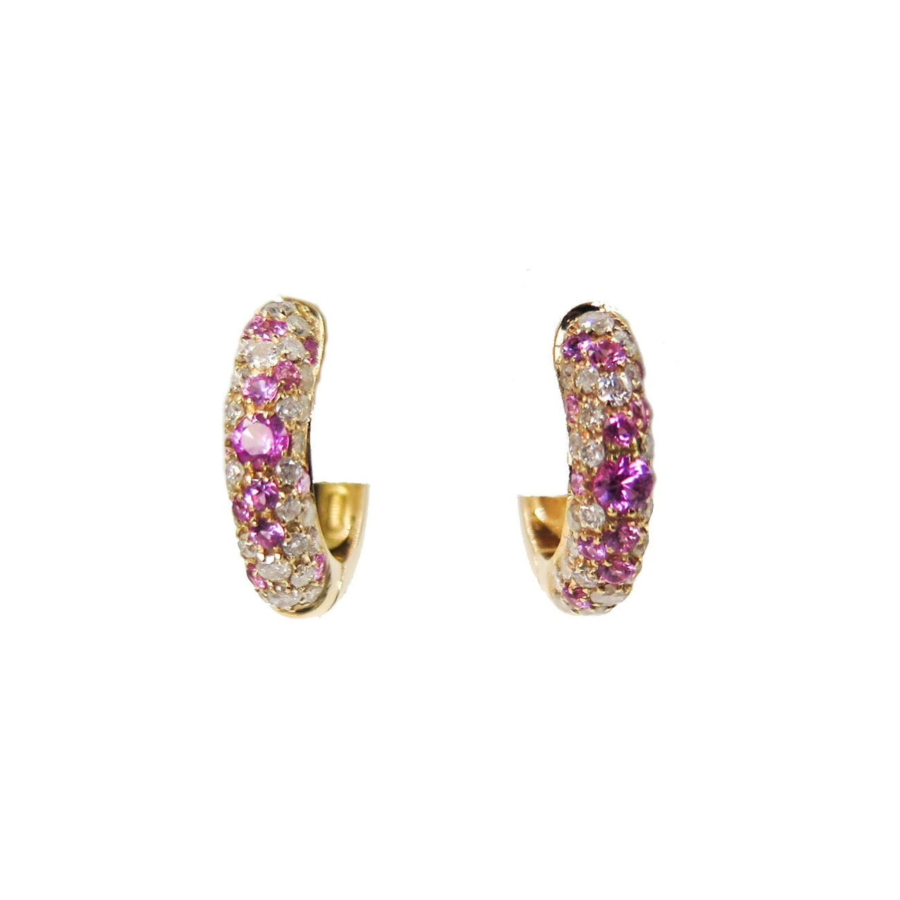 Estate Jewelry Estate Jewelry - Pink Sapphire and Diamond Rose Gold Huggie Earrings | Manfredi Jewels