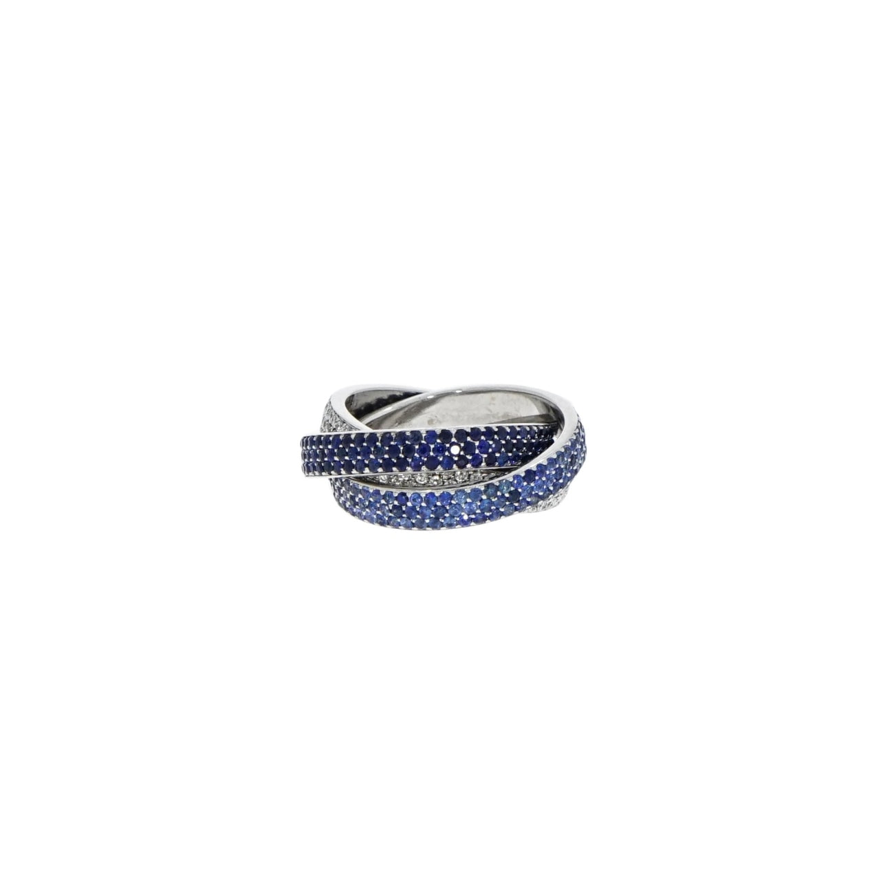 Estate Jewelry Estate Jewelry - Sapphire and Diamond Tricolor White Gold Rolling Ring | Manfredi Jewels