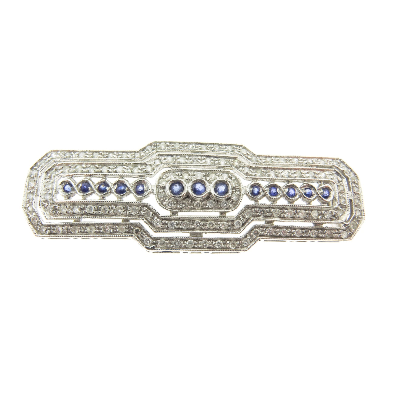 Estate Jewelry Estate Jewelry - Sapphire & Diamond Bar Brooch | Manfredi Jewels