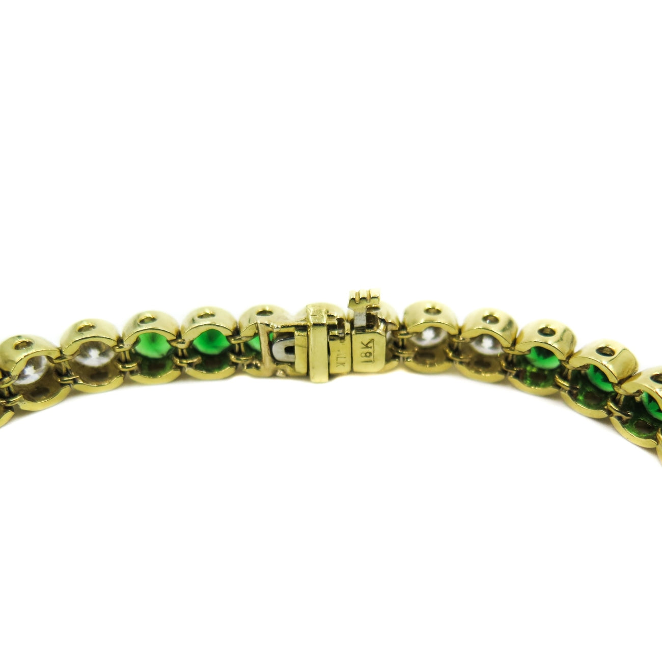 Estate Jewelry Estate Jewelry - Tsavorite and Diamond Yellow Gold Tennis Bracelet | Manfredi Jewels