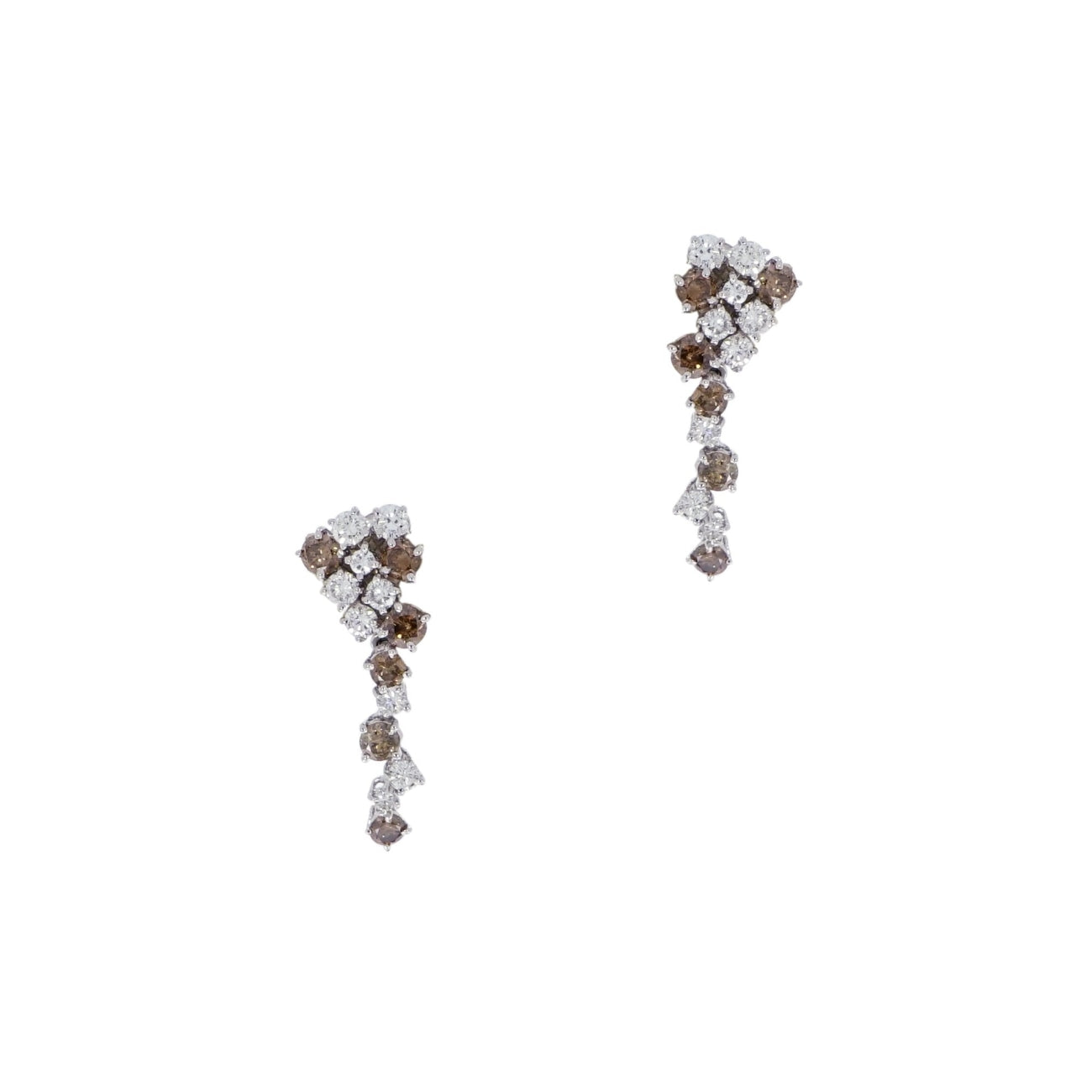 Estate Jewelry Estate Jewelry - White and Cognac Diamonds White Gold Drop Earrings | Manfredi Jewels