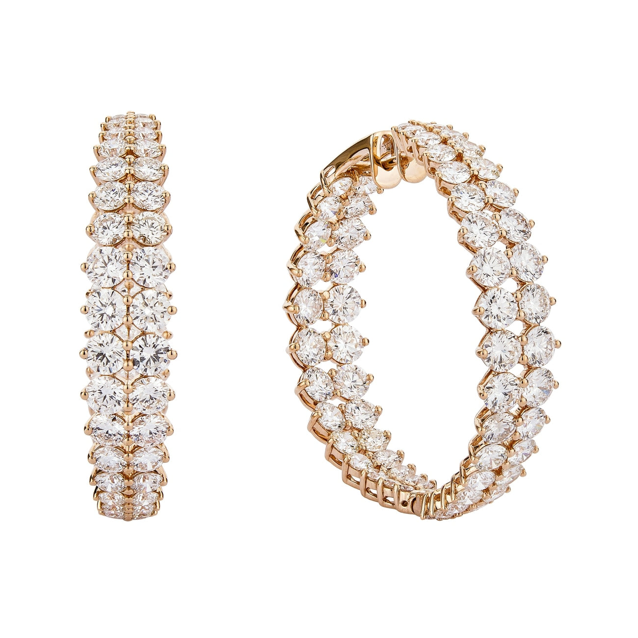 Etho Maria Jewelry - 2 rows of graduated diamond hoops in/out | Manfredi Jewels