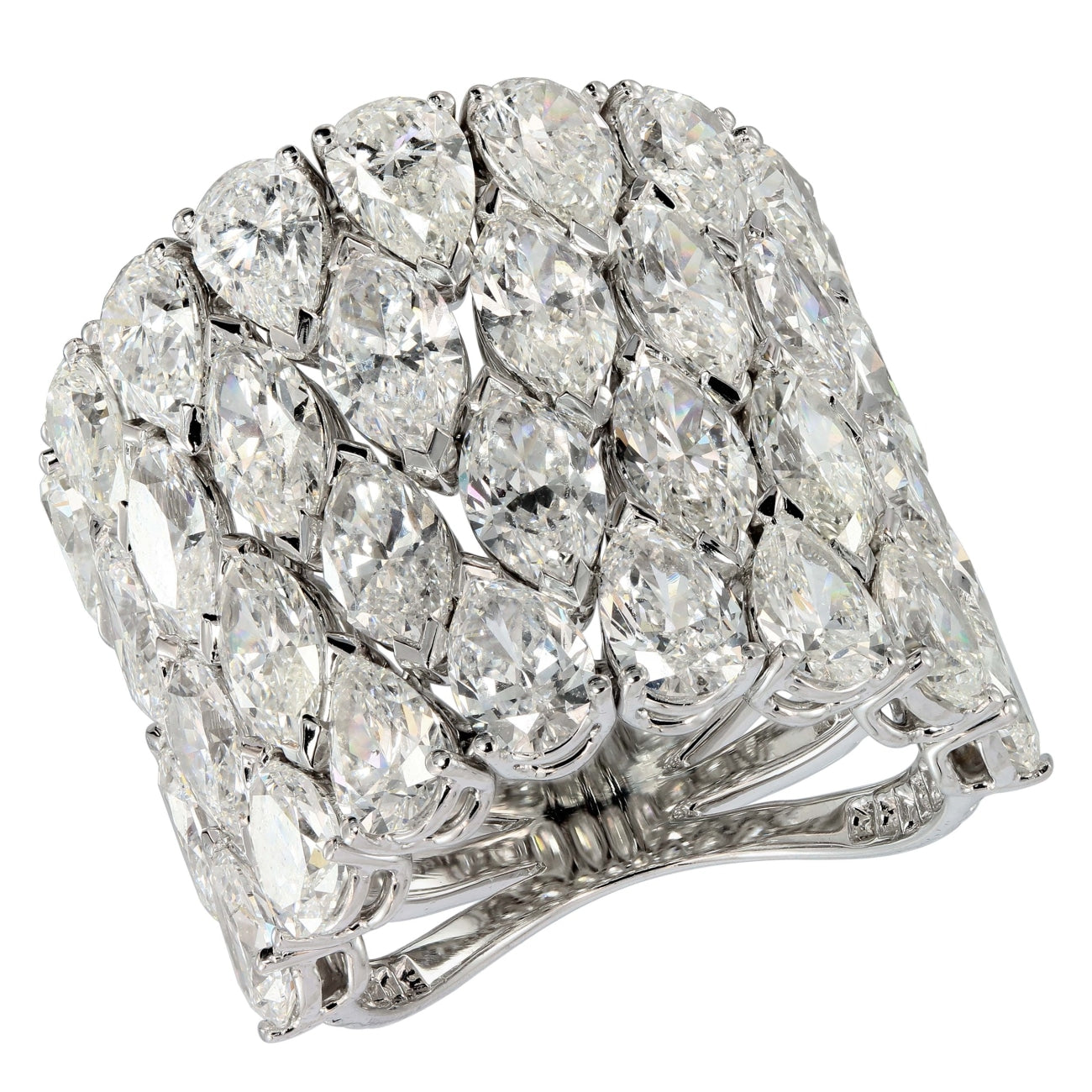 Etho Maria Jewelry - 4 rows of marquis and pear shape ring | Manfredi Jewels