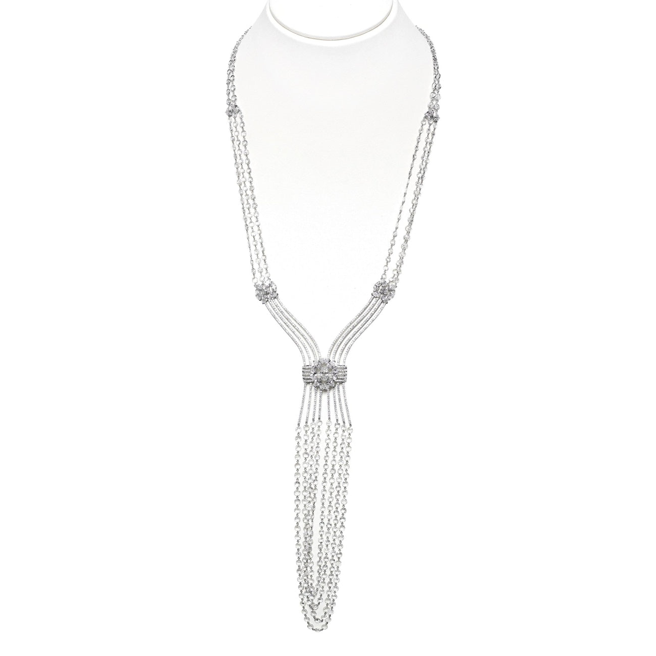 Briollete diamond chandelier necklace
