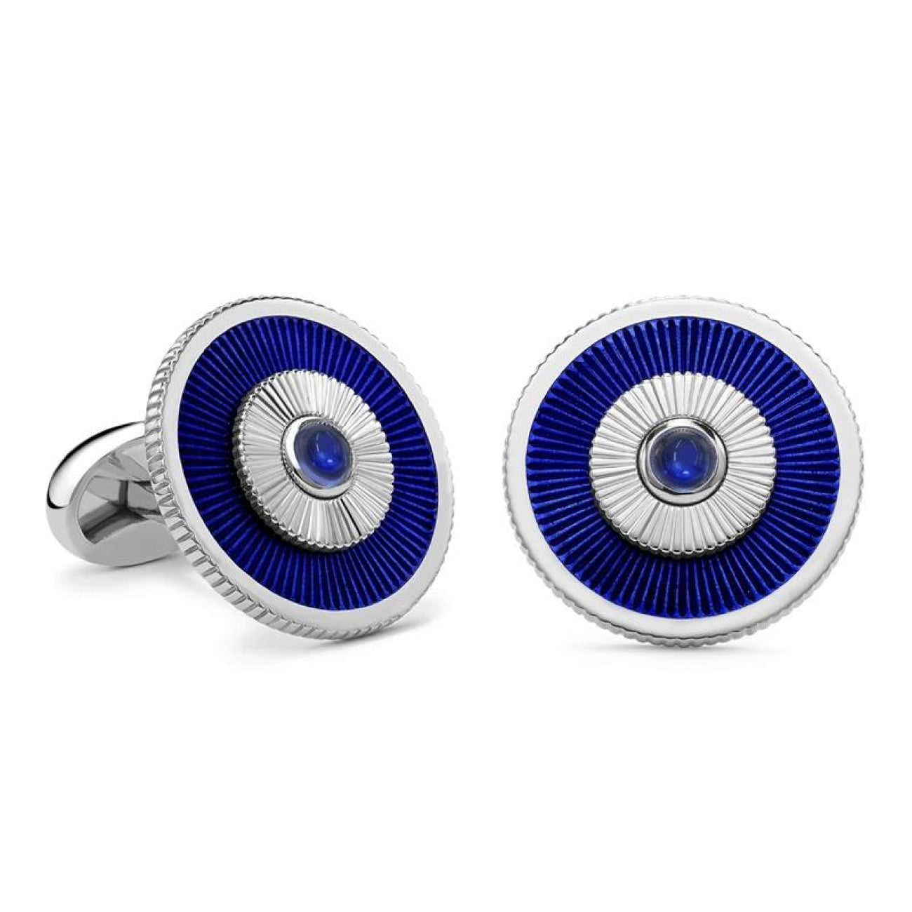 Fabergé Accessories - 18K WHITE GOLD BLUE SAPPHIRE CUFFLINKS WITH GUILLOCHÉ ENAMEL | Manfredi Jewels