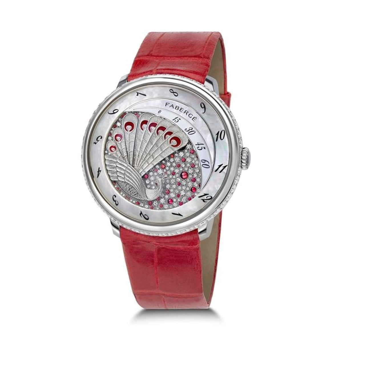 Fabergé Watches - COMPLIQUÉE PEACOCK RED DIAMOND PLATINUM & RUBY LADIES WATCH | Manfredi Jewels