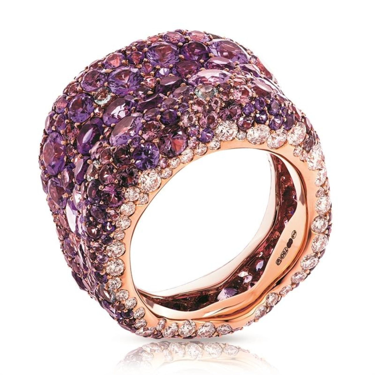 Fabergé Jewelry - EMOTION 18K ROSE GOLD WHITE DIAMOND & PURPLE GEMSTONE ENCRUSTED CHUNKY RING | Manfredi Jewels