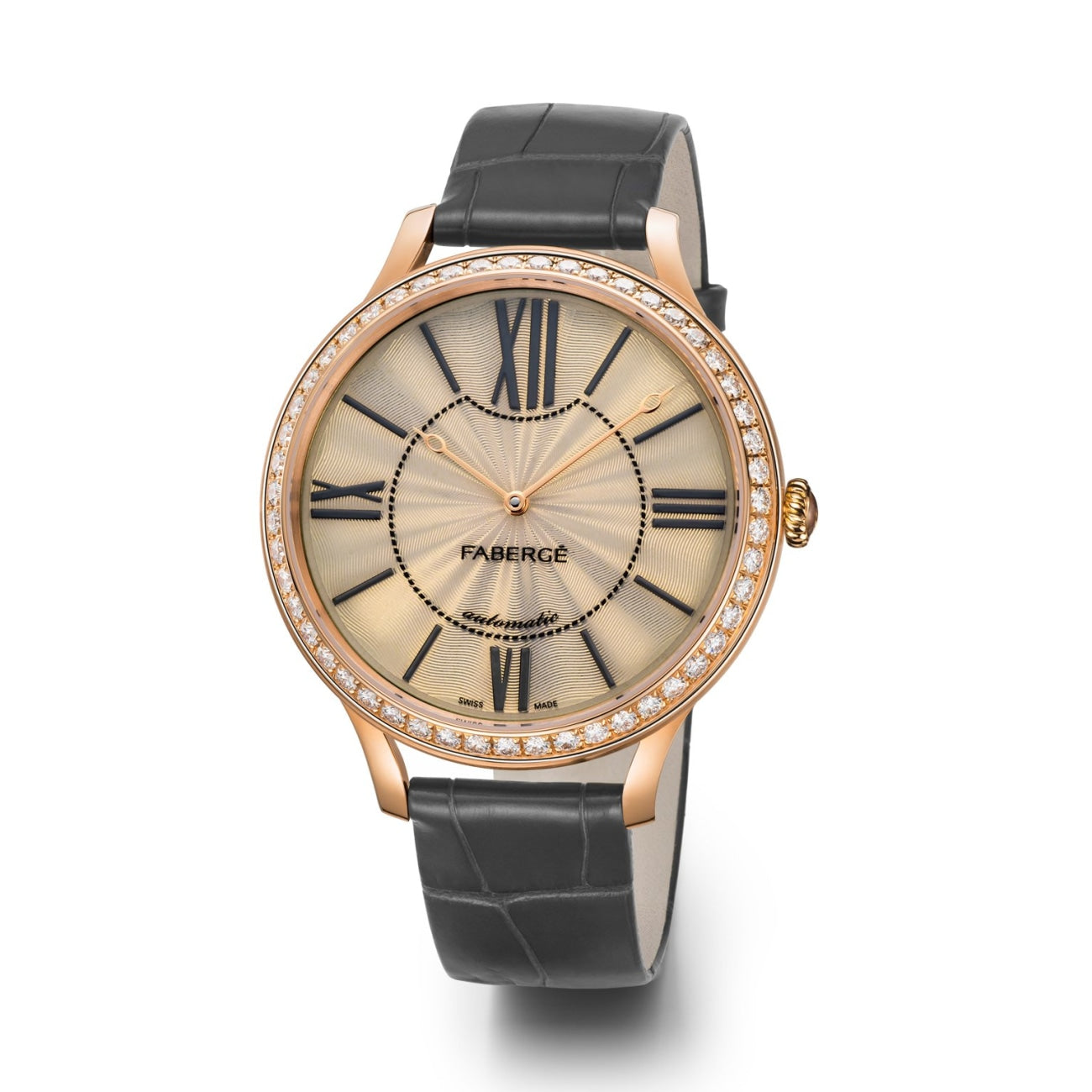 Fabergé Watches - Flirt 39MM 18 Karat Rose Gold - White Opalescent Enamel Dial | Manfredi Jewels