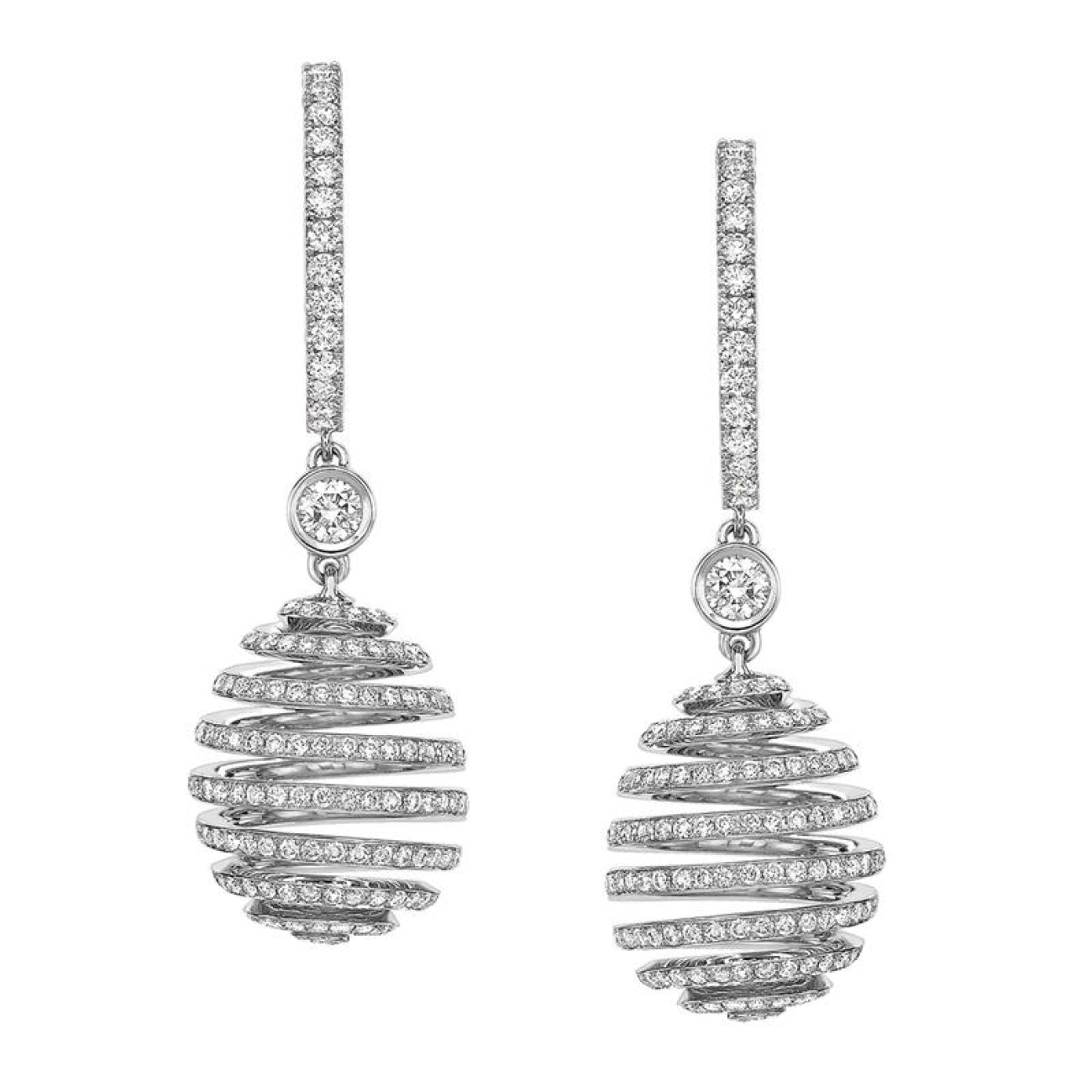 Fabergé Jewelry - Fabergé IMPERIAL 18K WHITE GOLD DIAMOND SPIRAL HOOP DROP EARRINGS | Manfredi Jewels