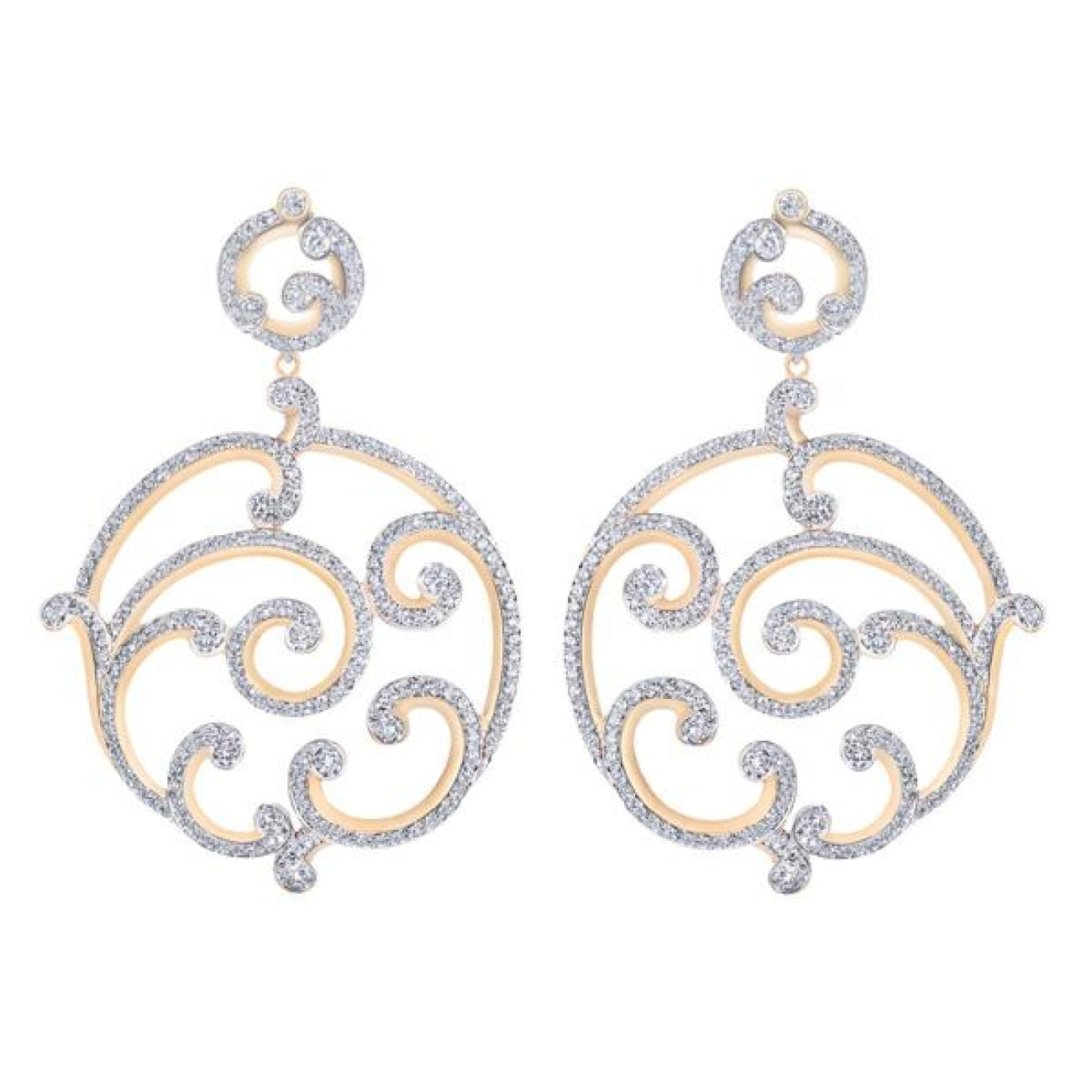 Fabergé Jewelry - Rococo Pavé Diamond Rose Gold Grand Earrings | Manfredi Jewels