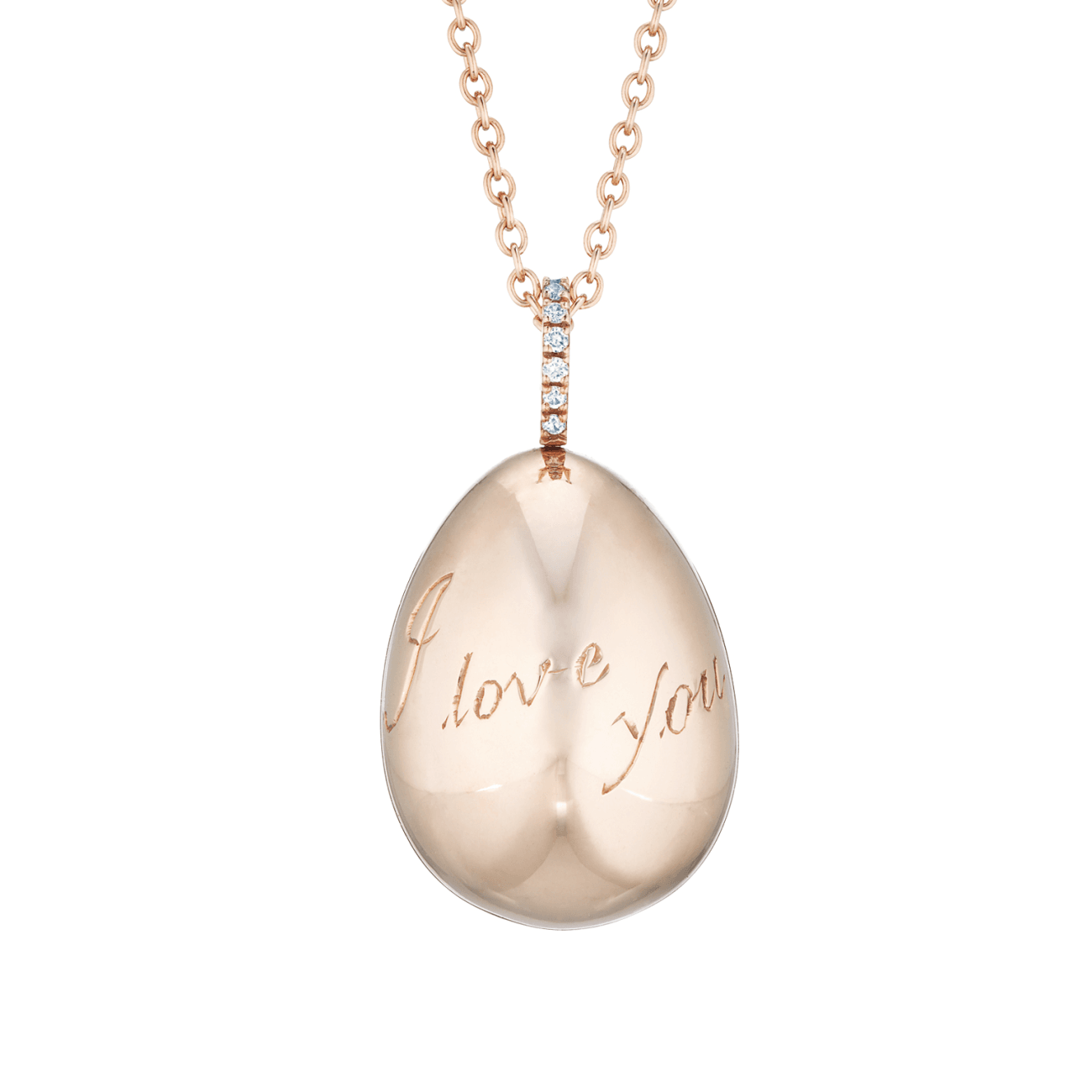 Fabergé Jewelry - SIMPLE I LOVE YOU ROSE GOLD PENDANT | Manfredi Jewels