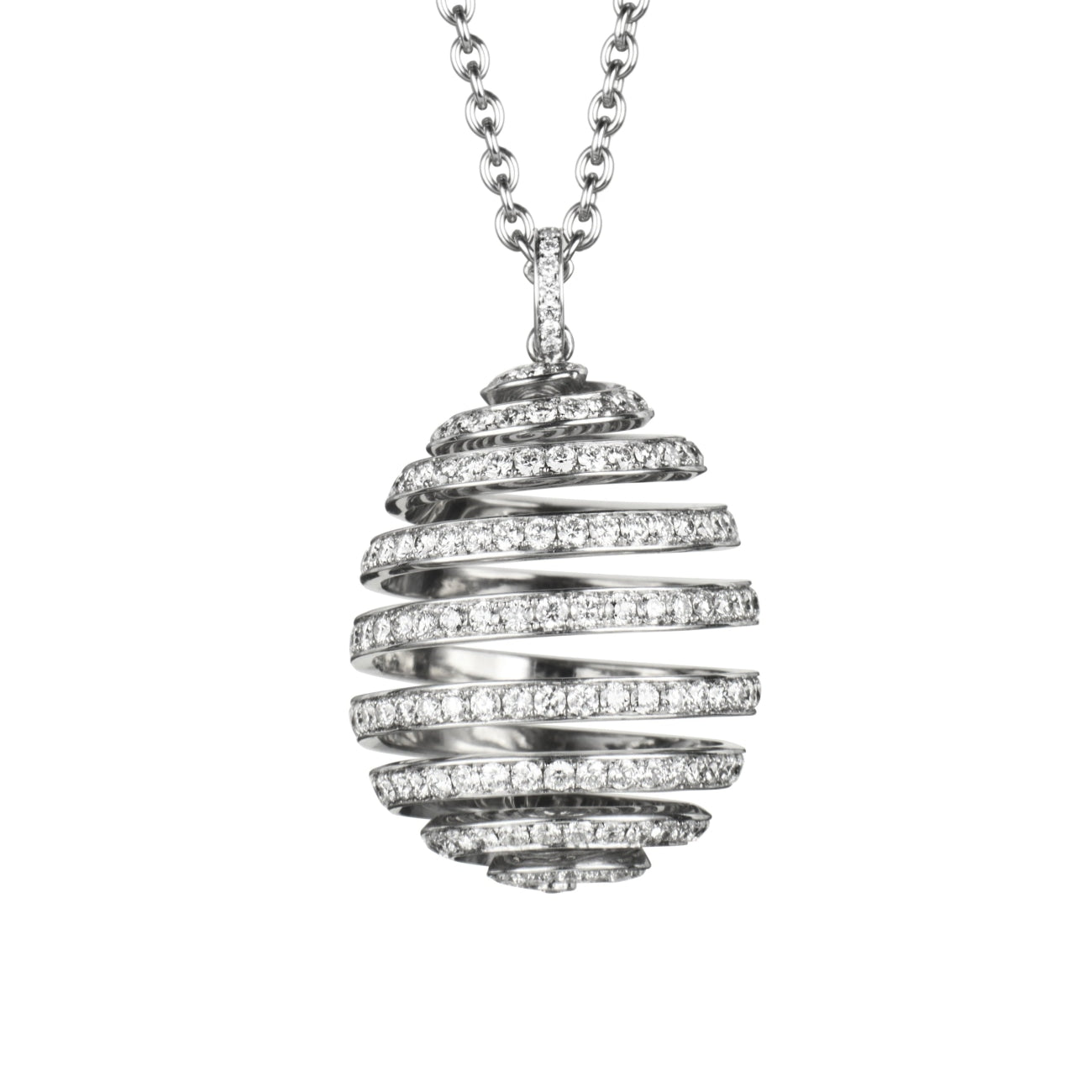 Fabergé Jewelry - SPIRAL DIAMOND WHITE GOLD PENDANT | Manfredi Jewels