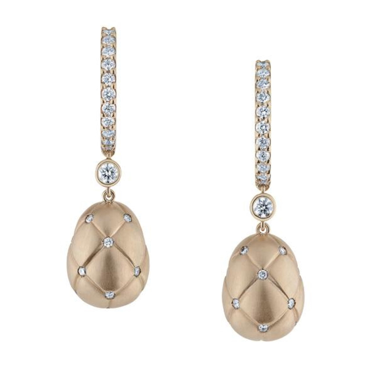 Fabergé Jewelry - Treillage Diamond Rose Gold Matt Drop Earrings | Manfredi Jewels