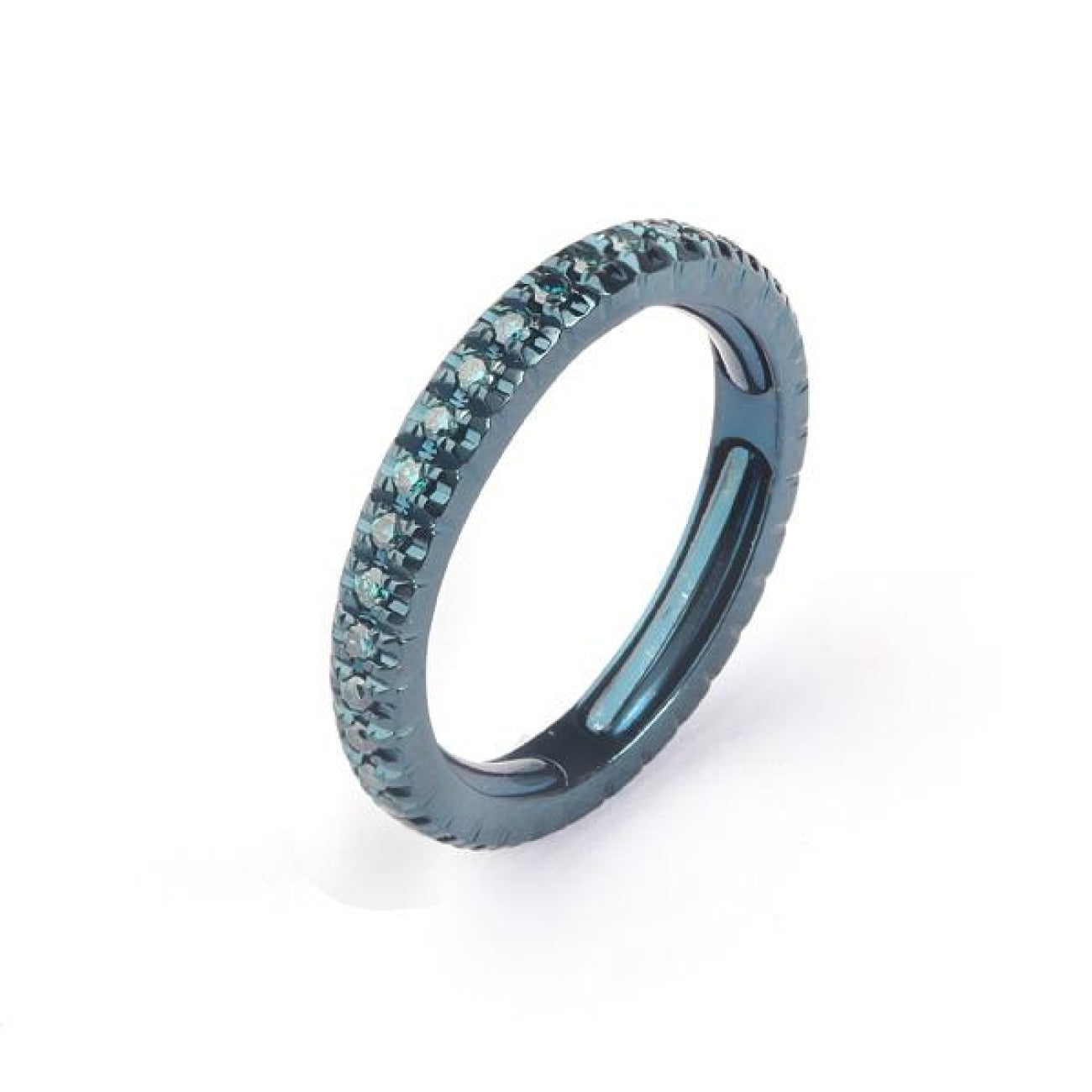 Facet Barcelona Jewelry - Blue Rhodium Gold Contemporary Full Eternity Ring | Manfredi Jewels