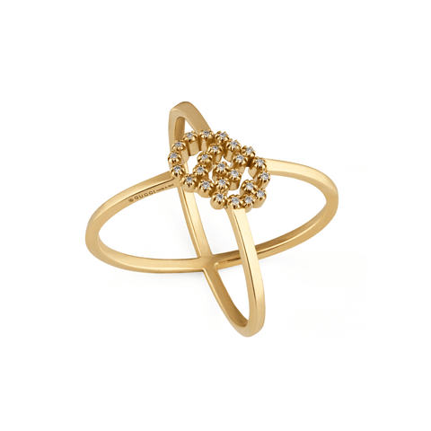 Gucci Jewelry - 18K YG Running G ring with diamonds | Manfredi Jewels