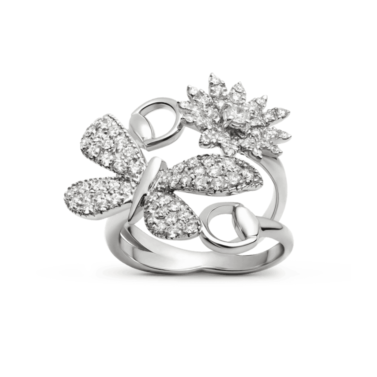 Gucci Jewelry - Flora diamond butterfly and daisy ring | Manfredi Jewels