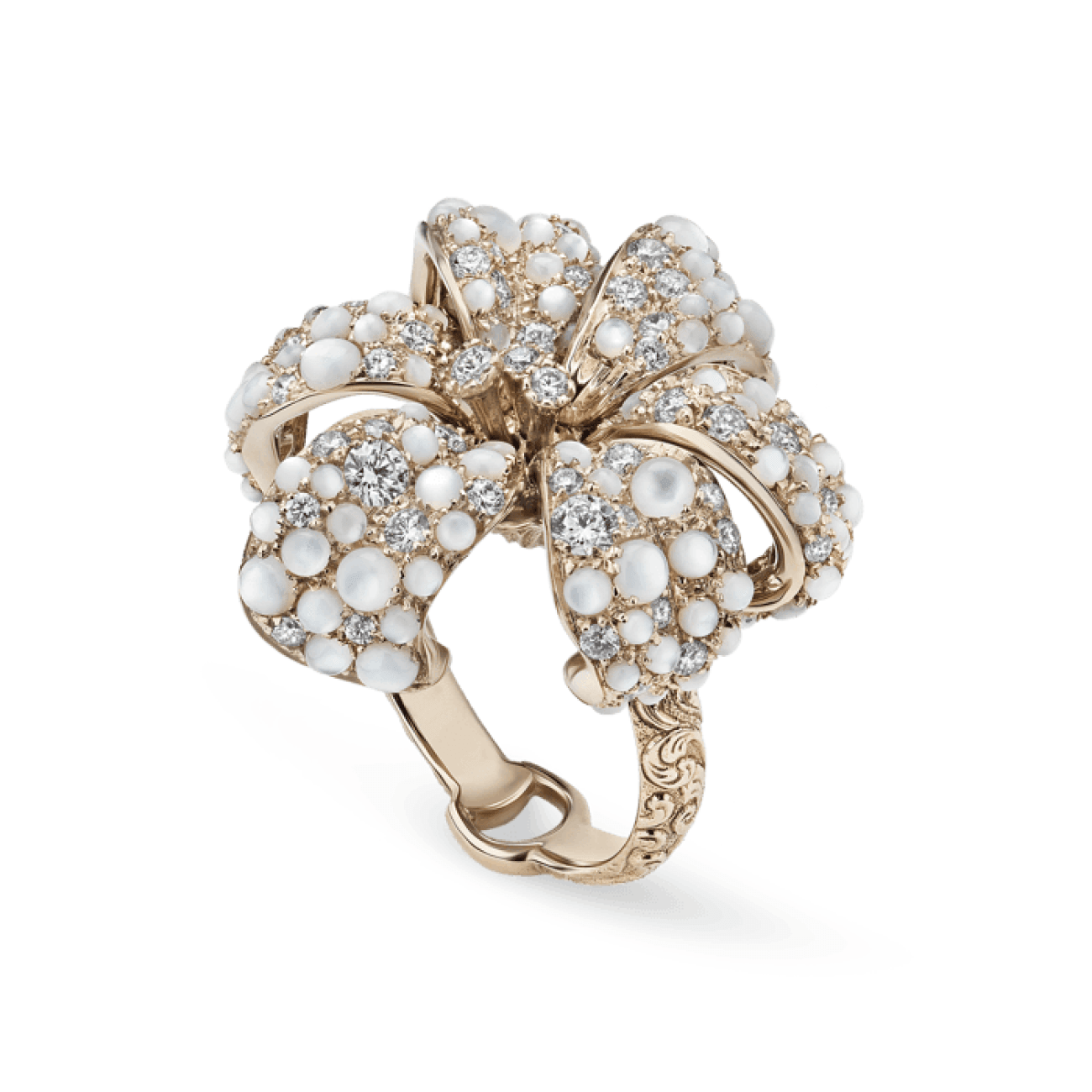 Gucci Jewelry - Flora Ring With Diamond Mop Ybc4794510013 | Manfredi Jewels