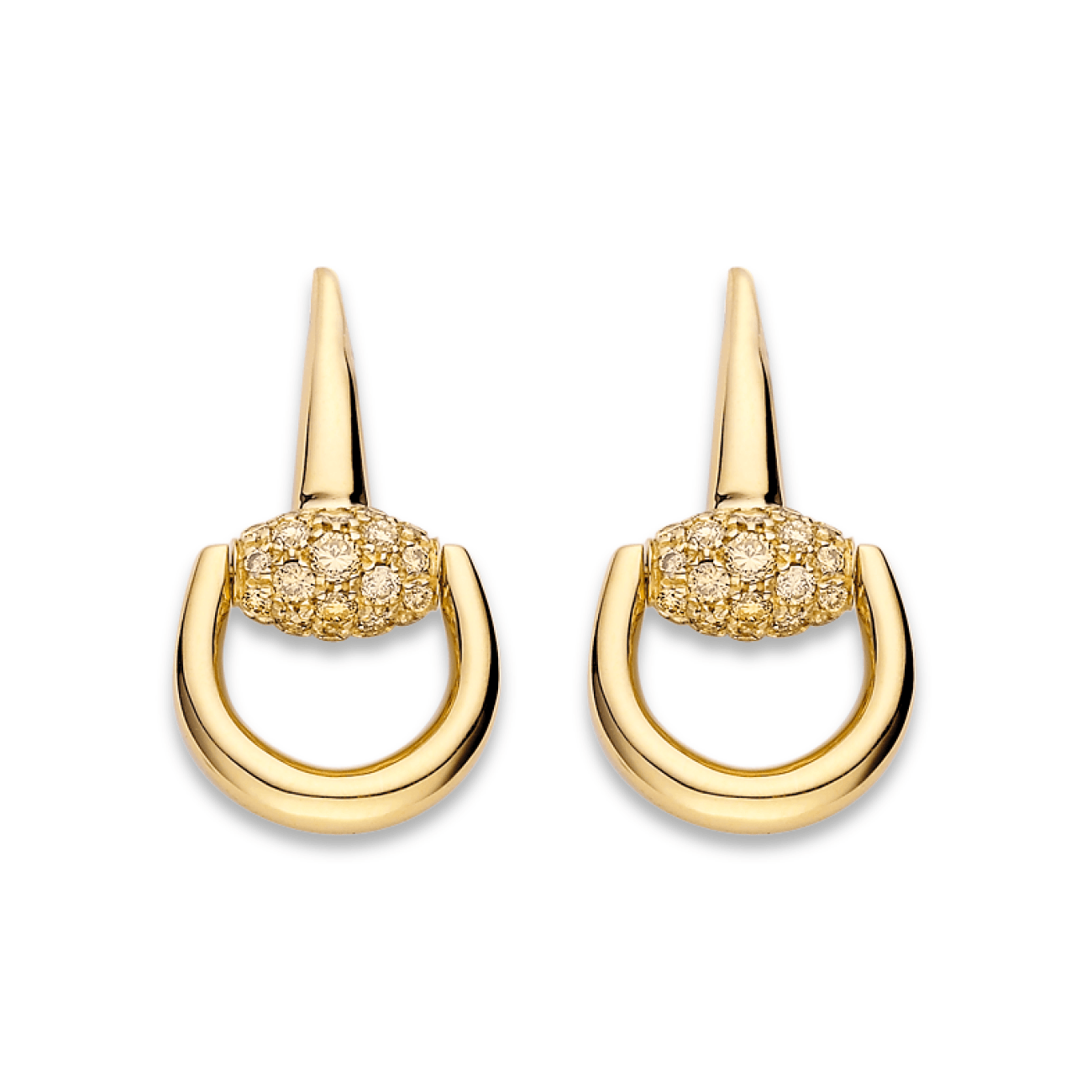 Gucci Jewelry - Horsebit brown diamond earrings | Manfredi Jewels