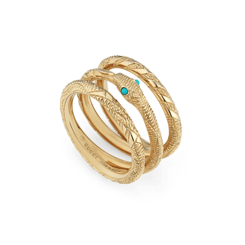 Gucci Jewelry - Ourob ring with 3 loops turquoise | Manfredi Jewels