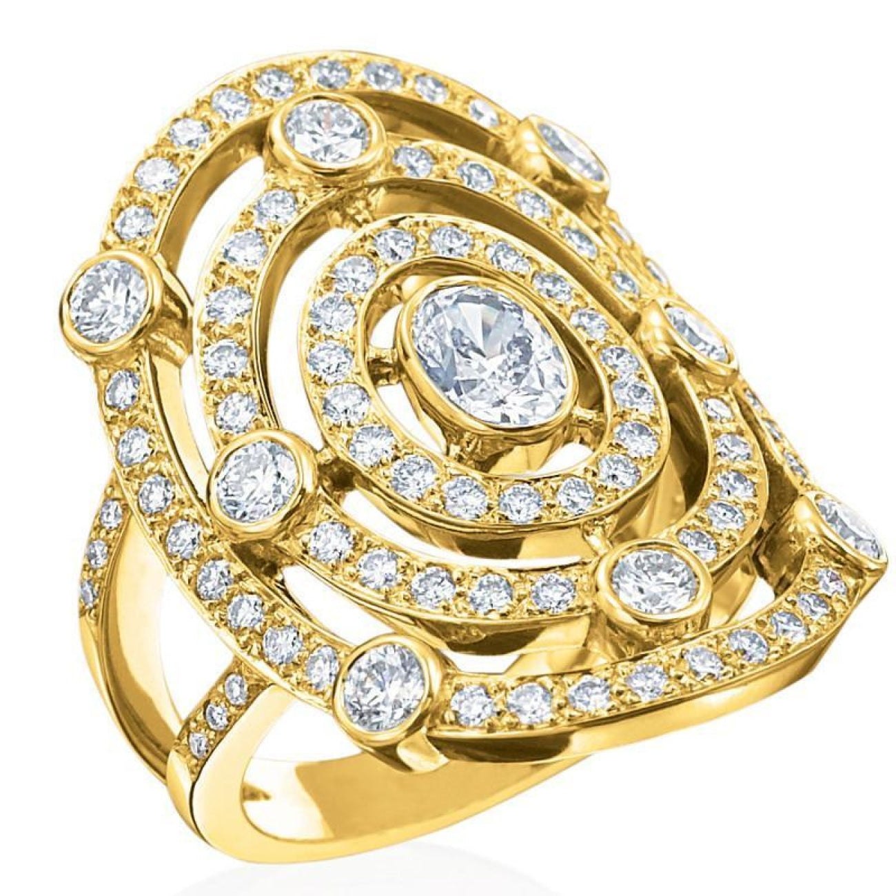 Gumuchian Jewelry - GUMUCHIAN CAROUSEL 18K GOLD DIAMOND ILLUSION HALO RING | Manfredi Jewels