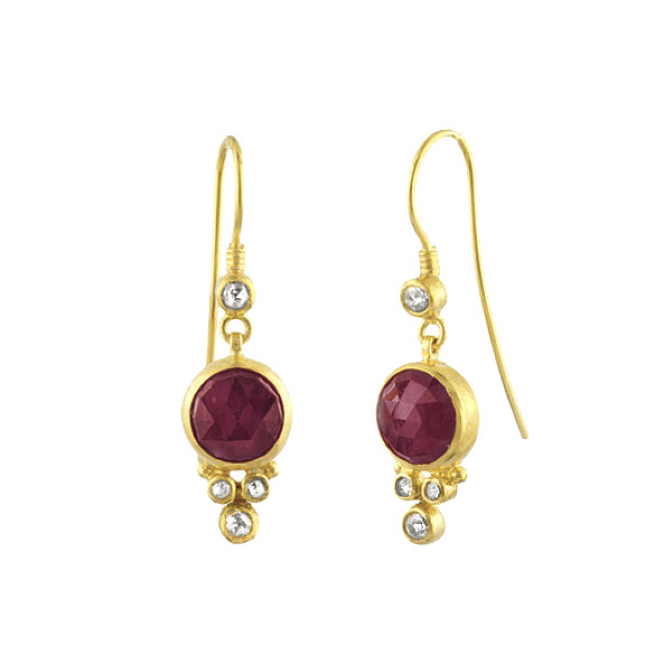 Gurhan Jewelry - 9mm round cut rubies with 3 rose cut diamond earrings | Manfredi Jewels