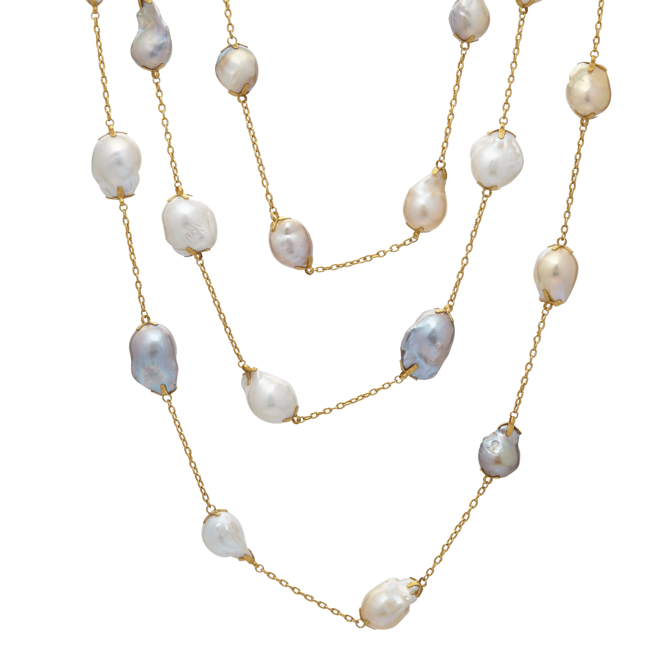Gurhan Jewelry - Oyster hue station necklace 50 length | Manfredi Jewels