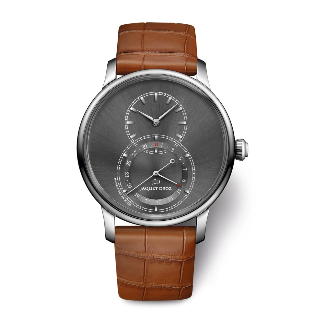 Jaquet Droz Watches - GRANDE SECONDE QUANTIME SATIN-BRUSHED ANTHRACITE | Manfredi Jewels