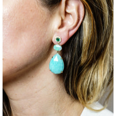 Lauren K Jewelry - Amazonite Opal and Emerald Drop Earrings | Manfredi Jewels