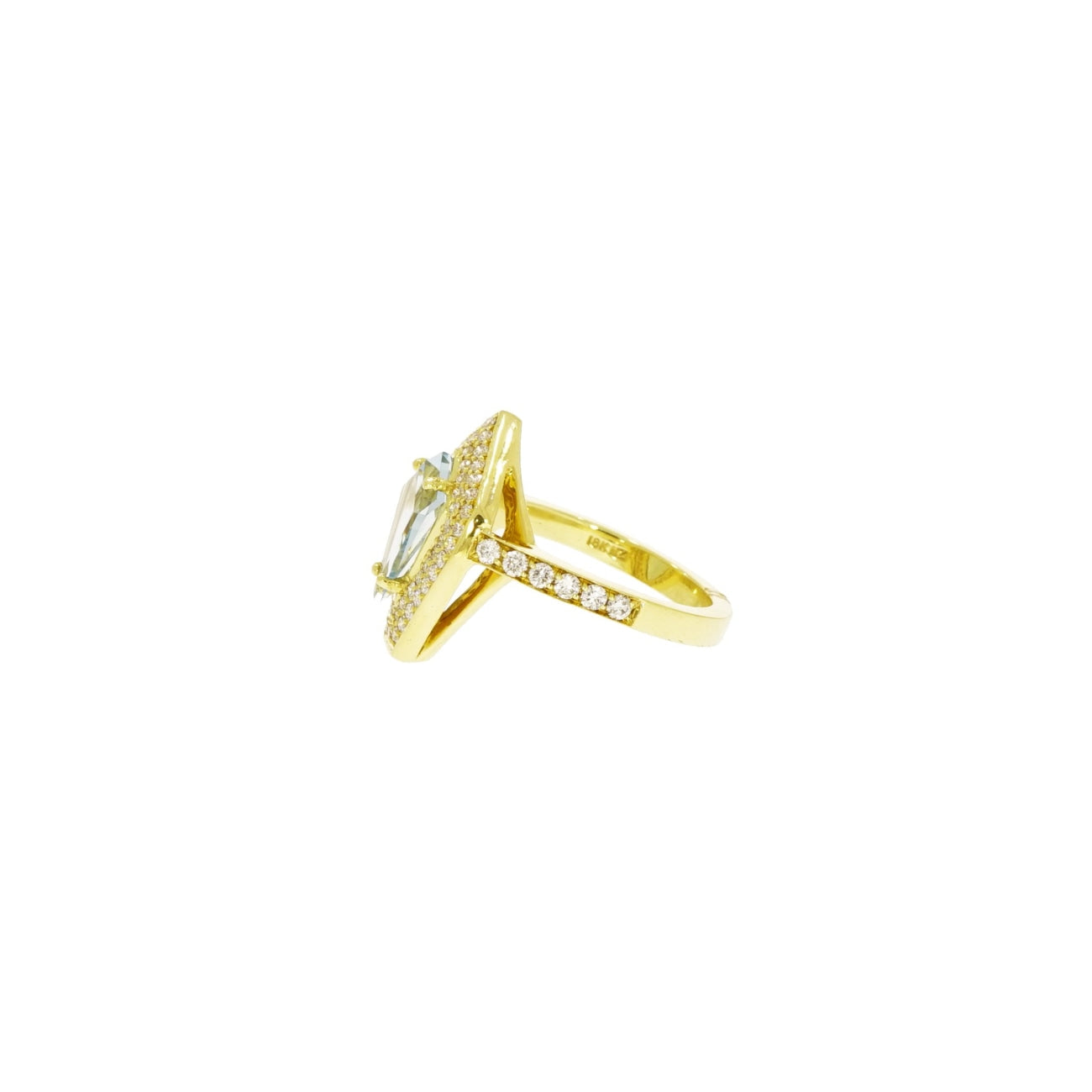 Lauren K Jewelry - Kite shaped Aquamarine & Yellow Gold Ring | Manfredi Jewels
