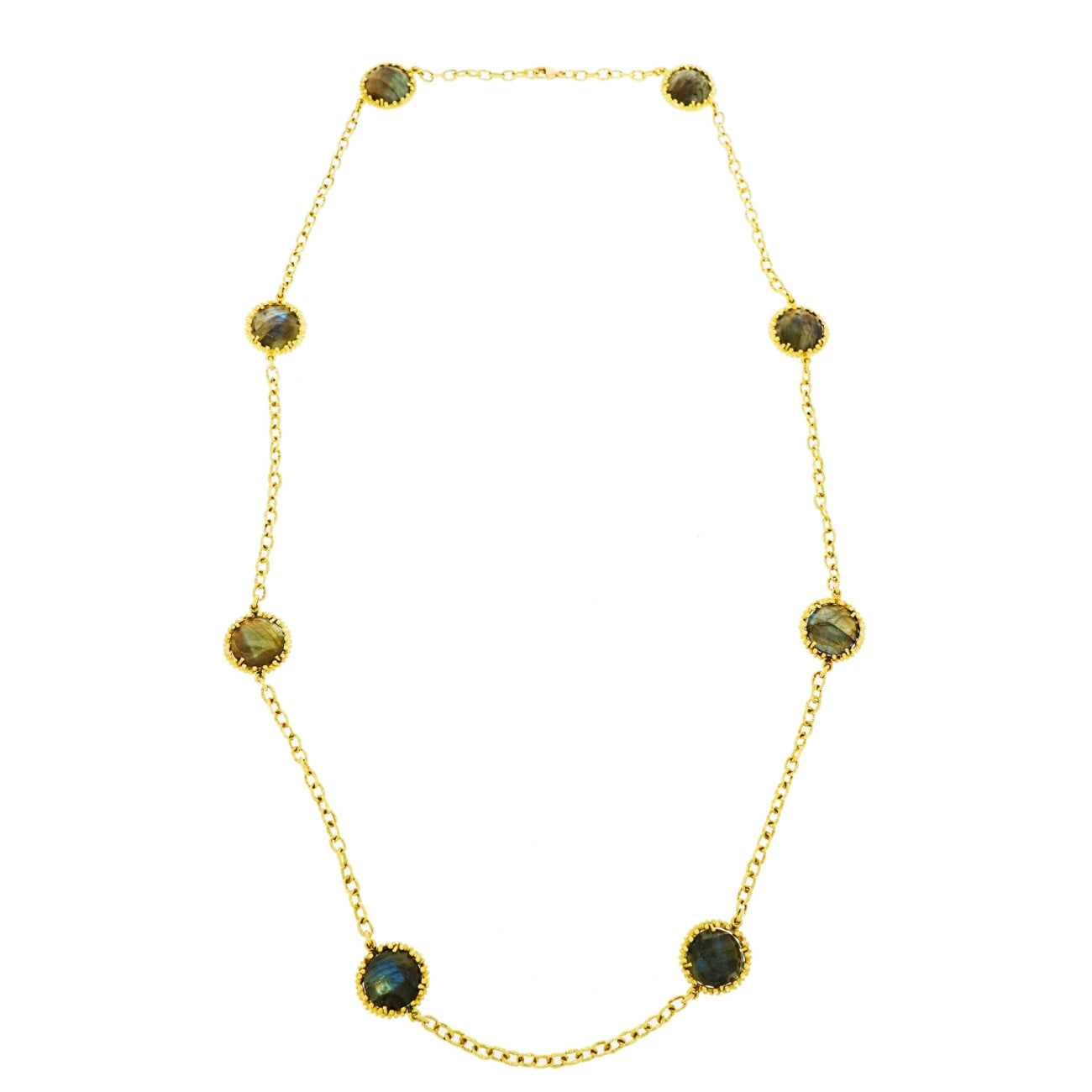 Lauren K Jewelry - Labradorite Yellow Gold Station Necklace | Manfredi Jewels