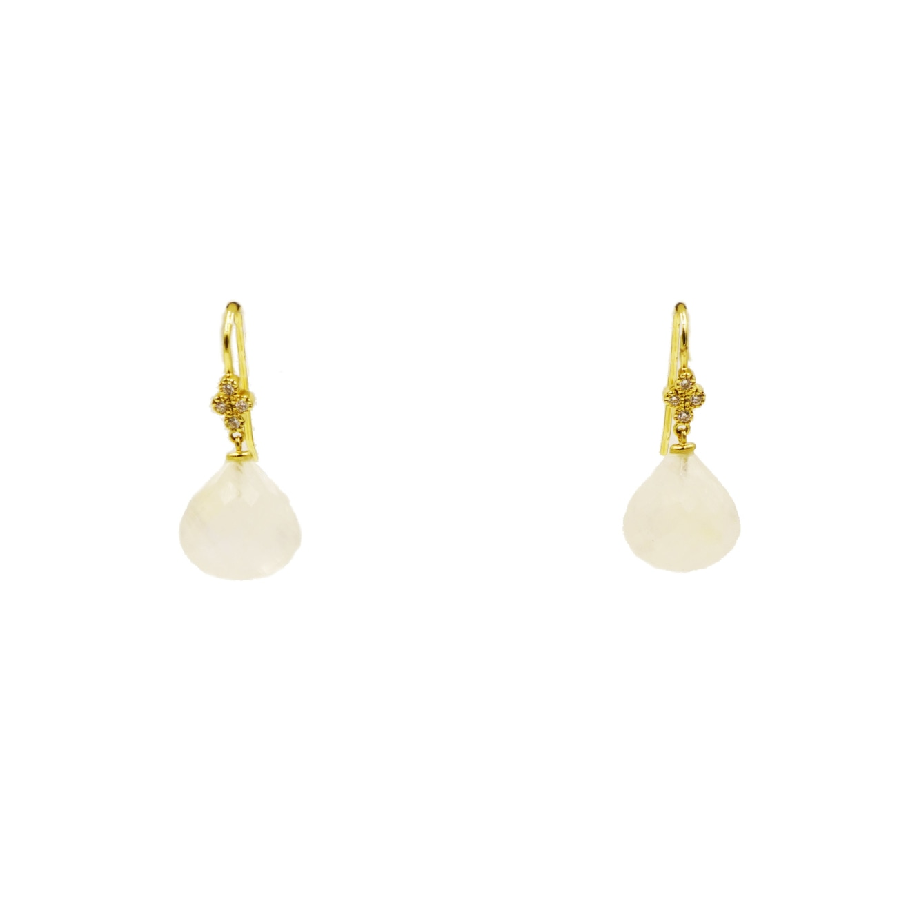 Lauren K Jewelry - Moonstone & Diamond Drop Yellow Gold Earrings | Manfredi Jewels