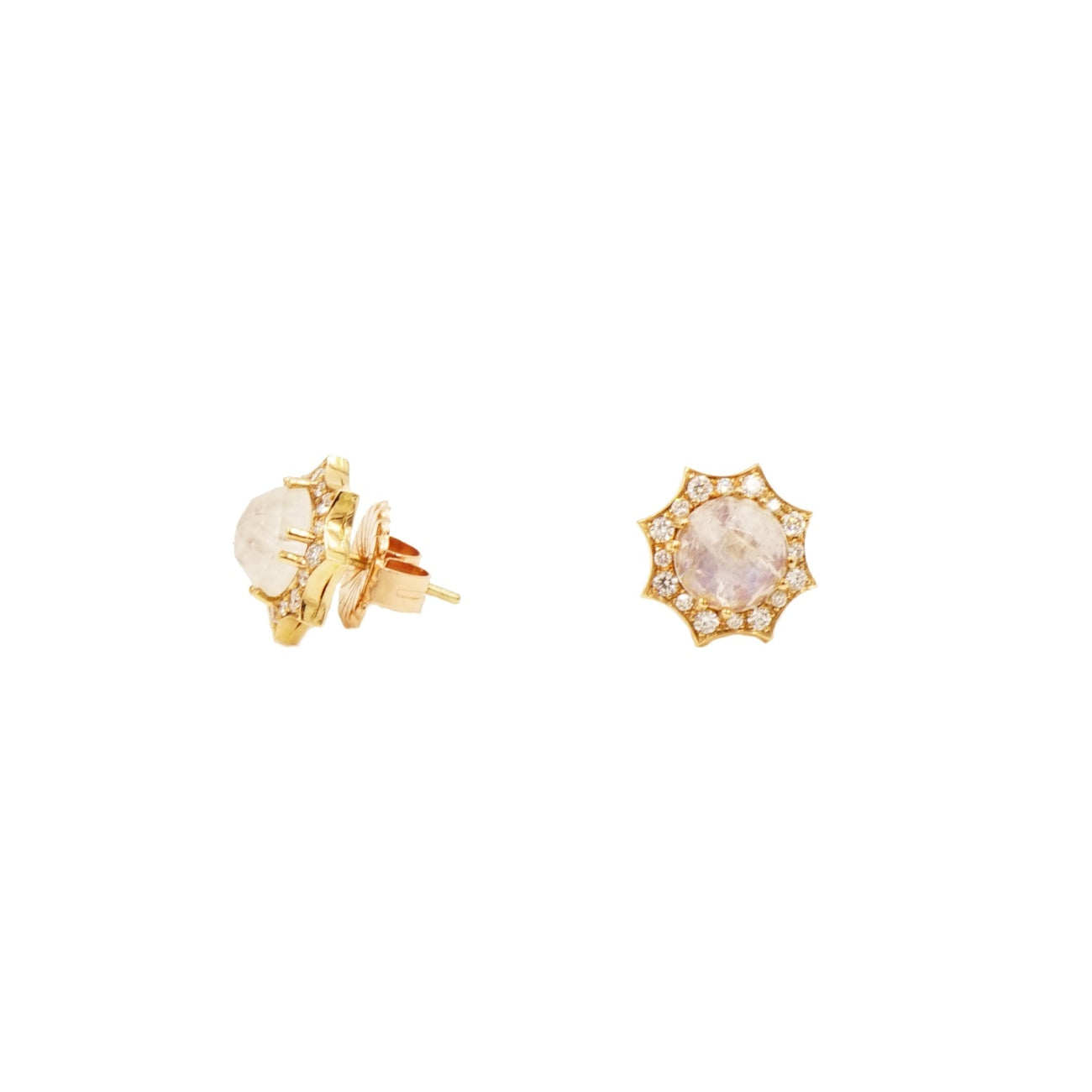 Lauren K Jewelry - Moonstone & Diamond Rose Gold Stud Earrings | Manfredi Jewels