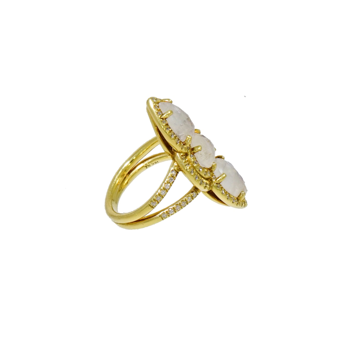 Lauren K Jewelry - Moonstone & Diamond Yellow Gold Ring | Manfredi Jewels