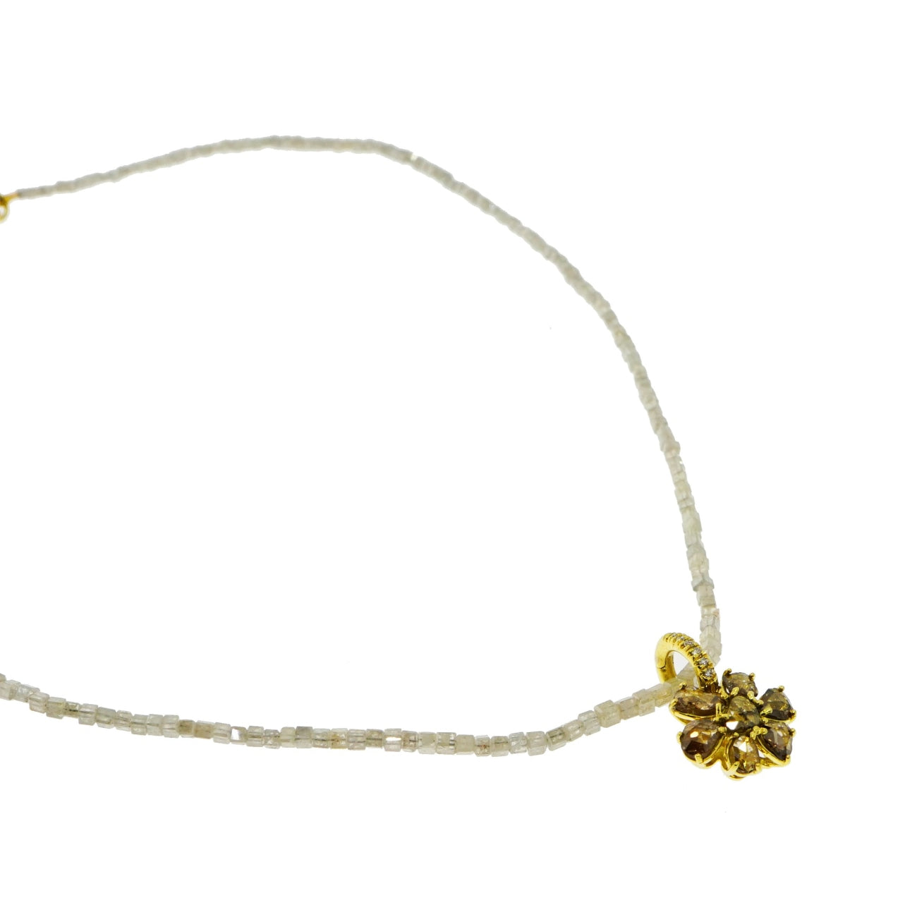 Lauren K Jewelry - Natural faceted Raw Diamond Necklace with Flower | Manfredi Jewels