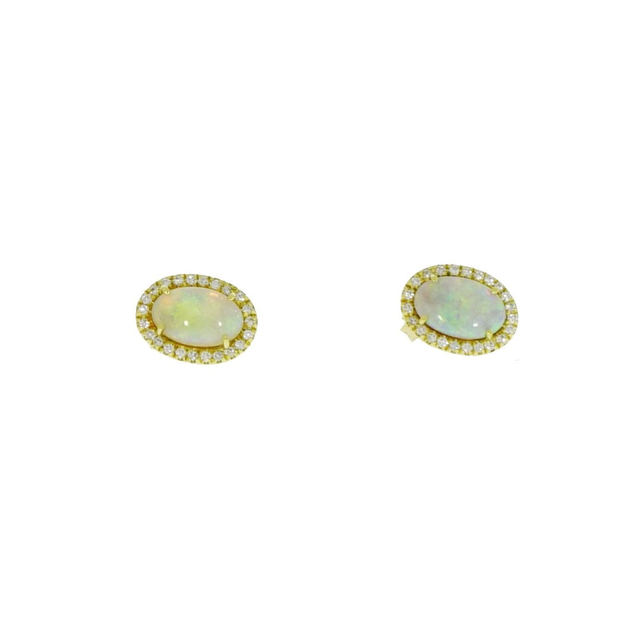Lauren K Jewelry - Opal & Diamond Yellow Gold Stud Earrings | Manfredi Jewels