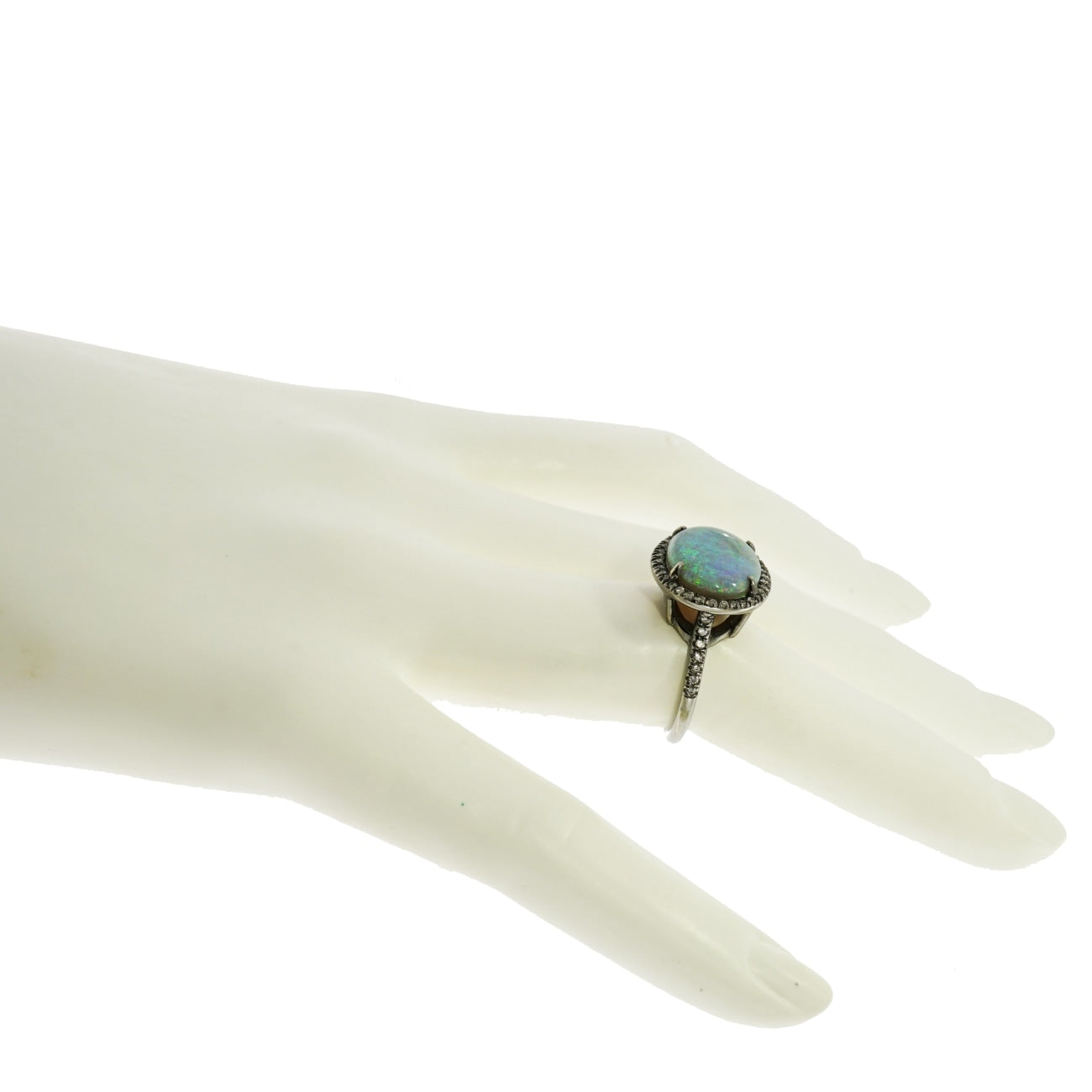 Lauren K Jewelry - Oval Blue Opal & Diamond Ring | Manfredi Jewels
