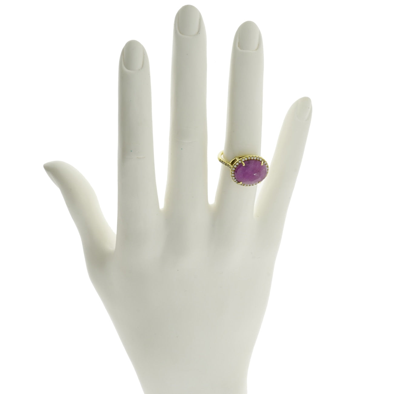 Lauren K Jewelry - Oval Pink Sapphire & Diamond Yellow Gold Ring | Manfredi Jewels