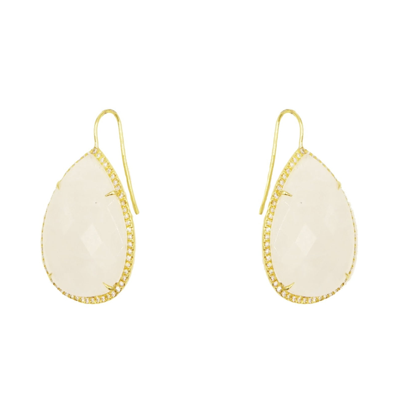 Lauren K Jewelry - Pear shaped Faceted Moonstone Drop Earrings | Manfredi Jewels