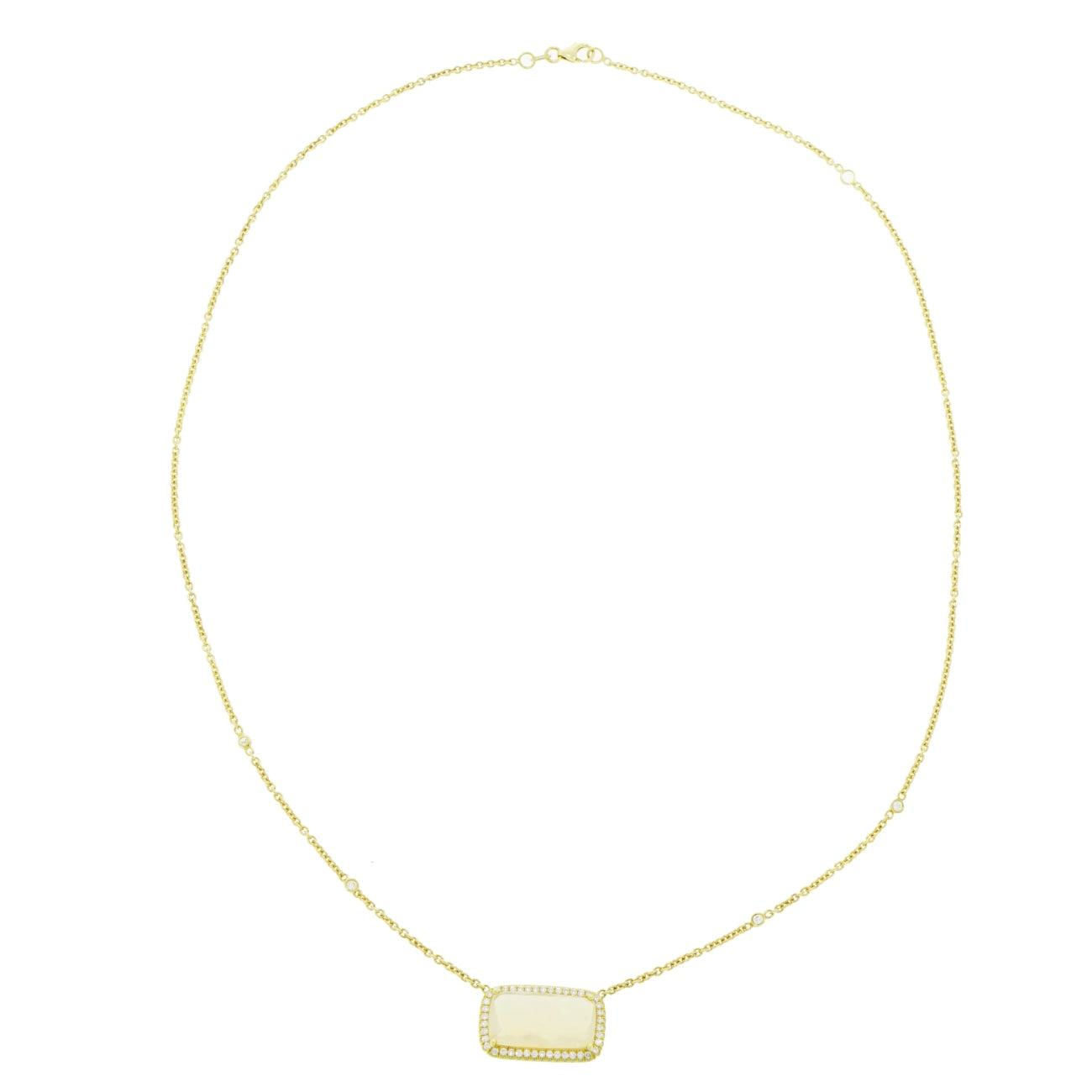 Lauren K Jewelry - Rectangular Opal & Diamond Yellow Gold Pendant | Manfredi Jewels