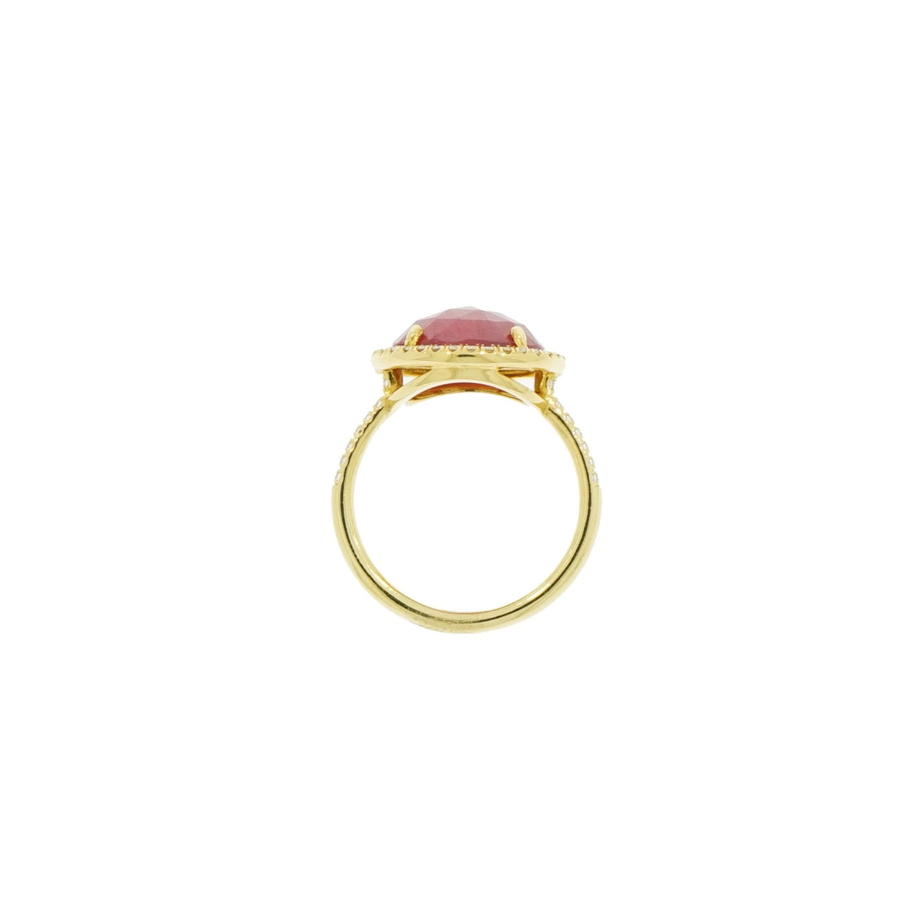 Lauren K Jewelry - Round Pink Sapphire & Diamond Yellow Gold Ring | Manfredi Jewels