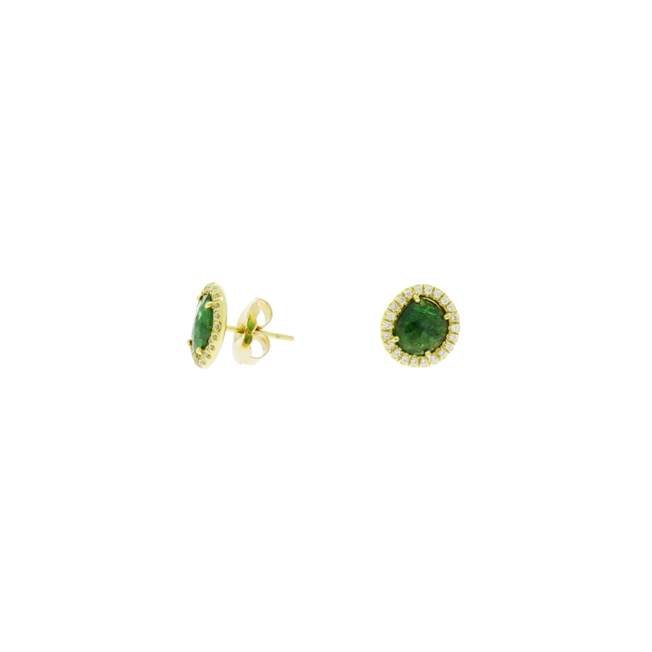 Lauren K Jewelry - Tsavorite & Diamond Yellow Gold Stud Earrings | Manfredi Jewels