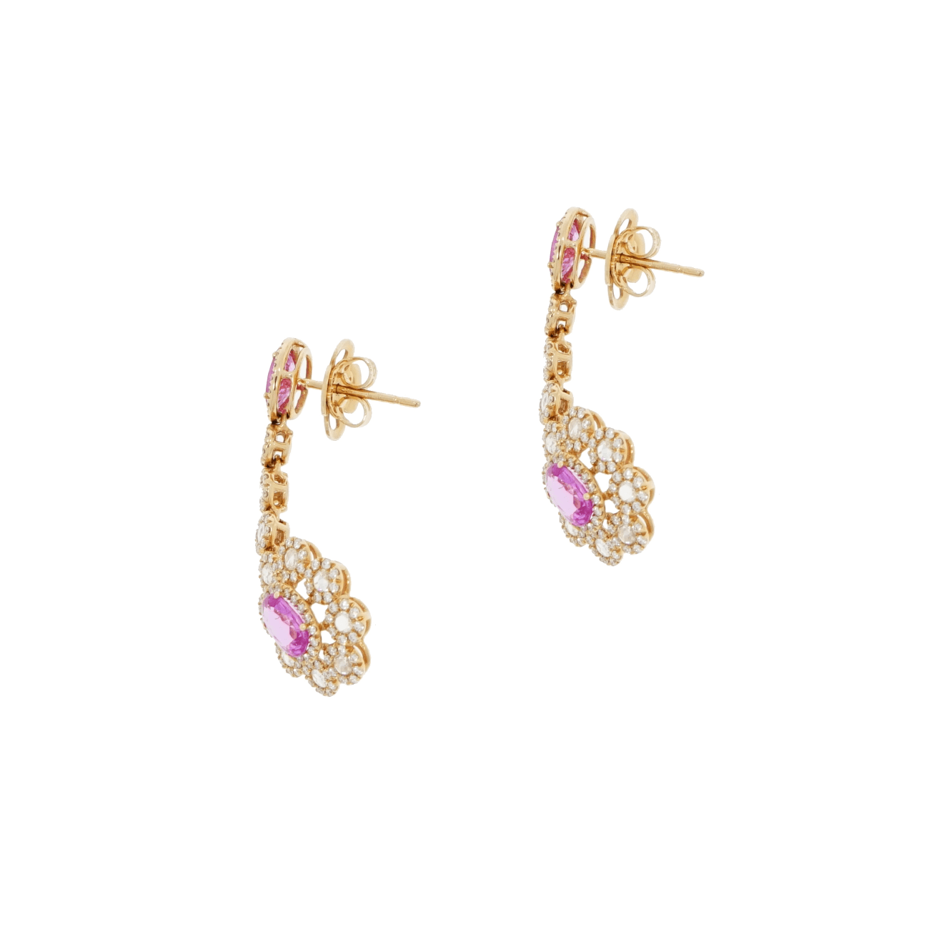 Leo Pizzo Jewelry - Leo Pizzo Pink Sapphire And Diamond Dangling earrings | Manfredi Jewels