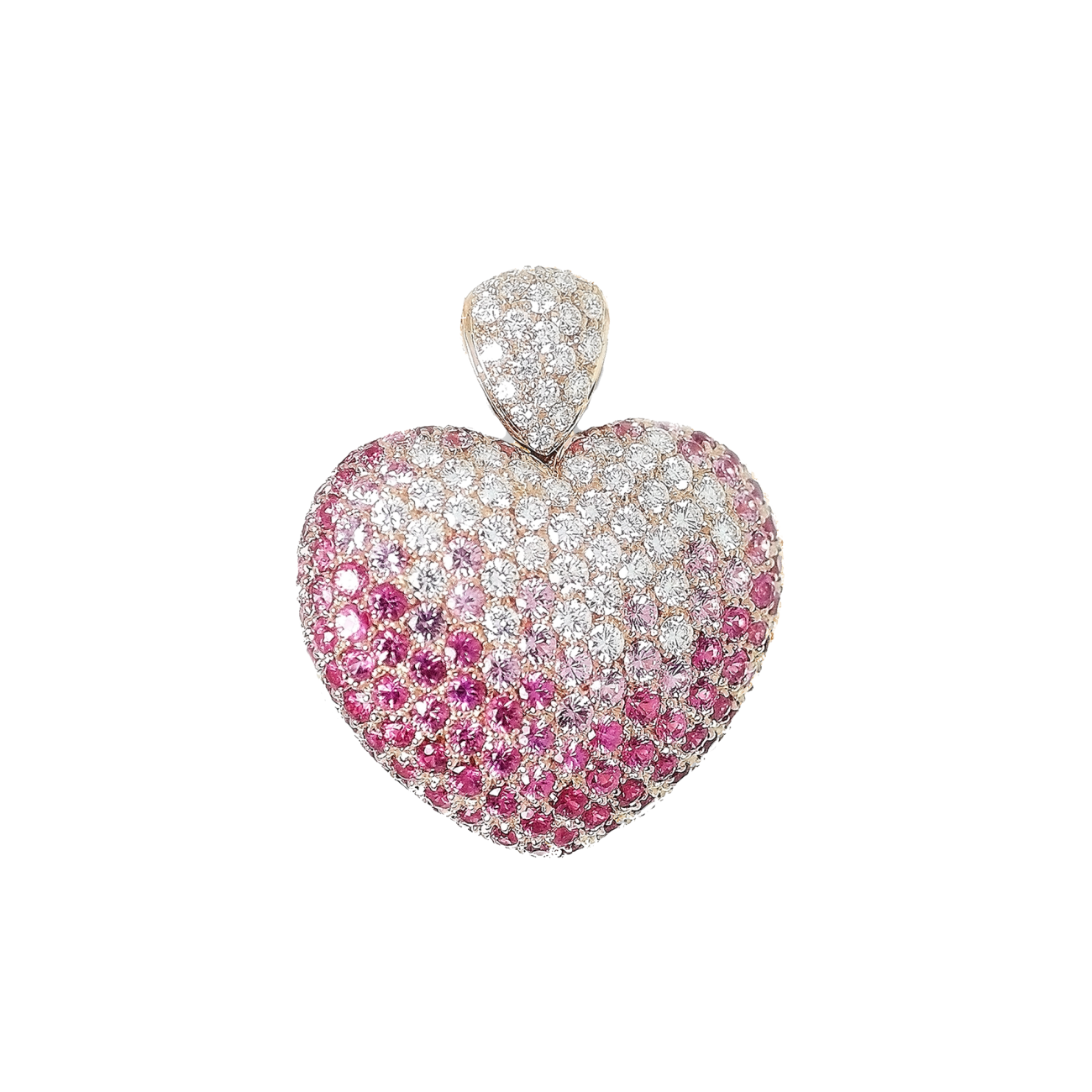Leo Pizzo Jewelry - Leo Pizzo Puffed Diamond and Pink Sapphire Heart Shaped Necklace | Manfredi Jewels