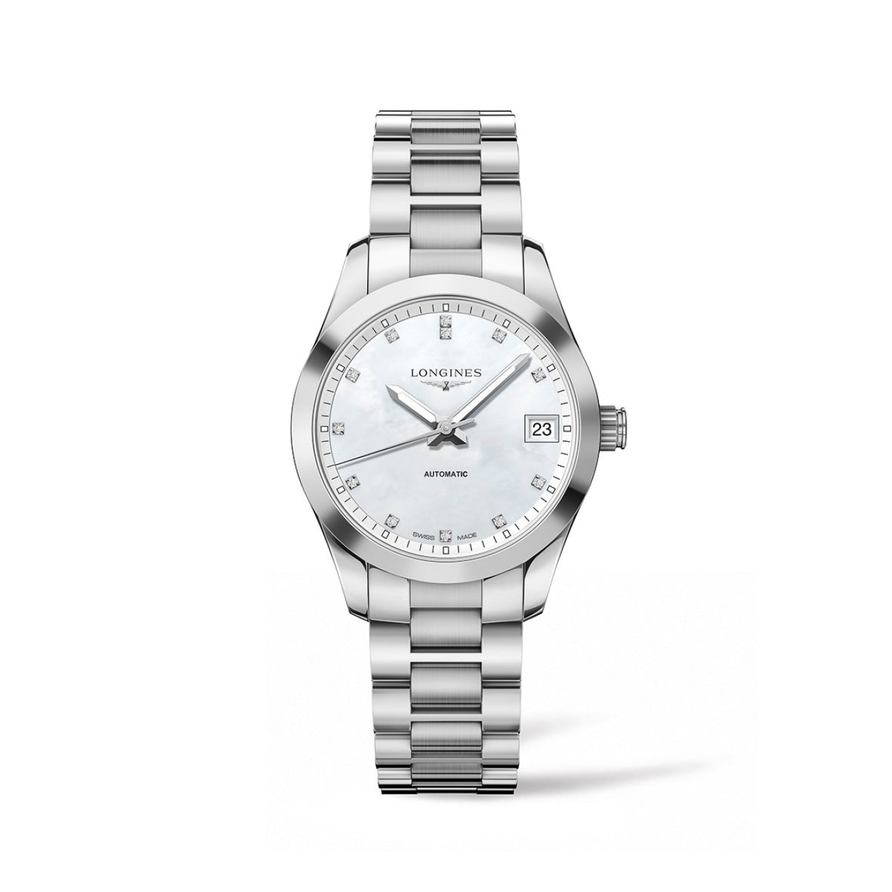 Longines Watches - Conquest Classic 34Mm Stainless Steel With Diamonds | Manfredi Jewels