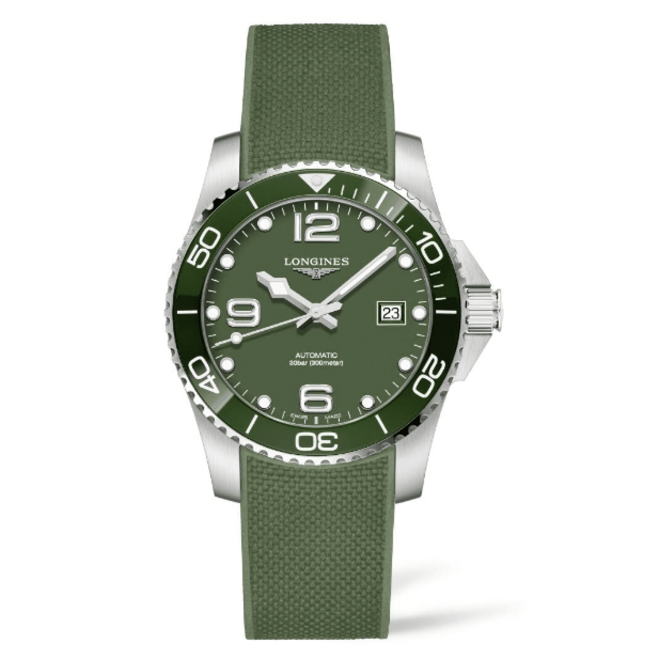 Longines Watches - HYDROCONQUEST 41MM GREEN CERAMIC AUTOMATIC DIVING WATCH | Manfredi Jewels