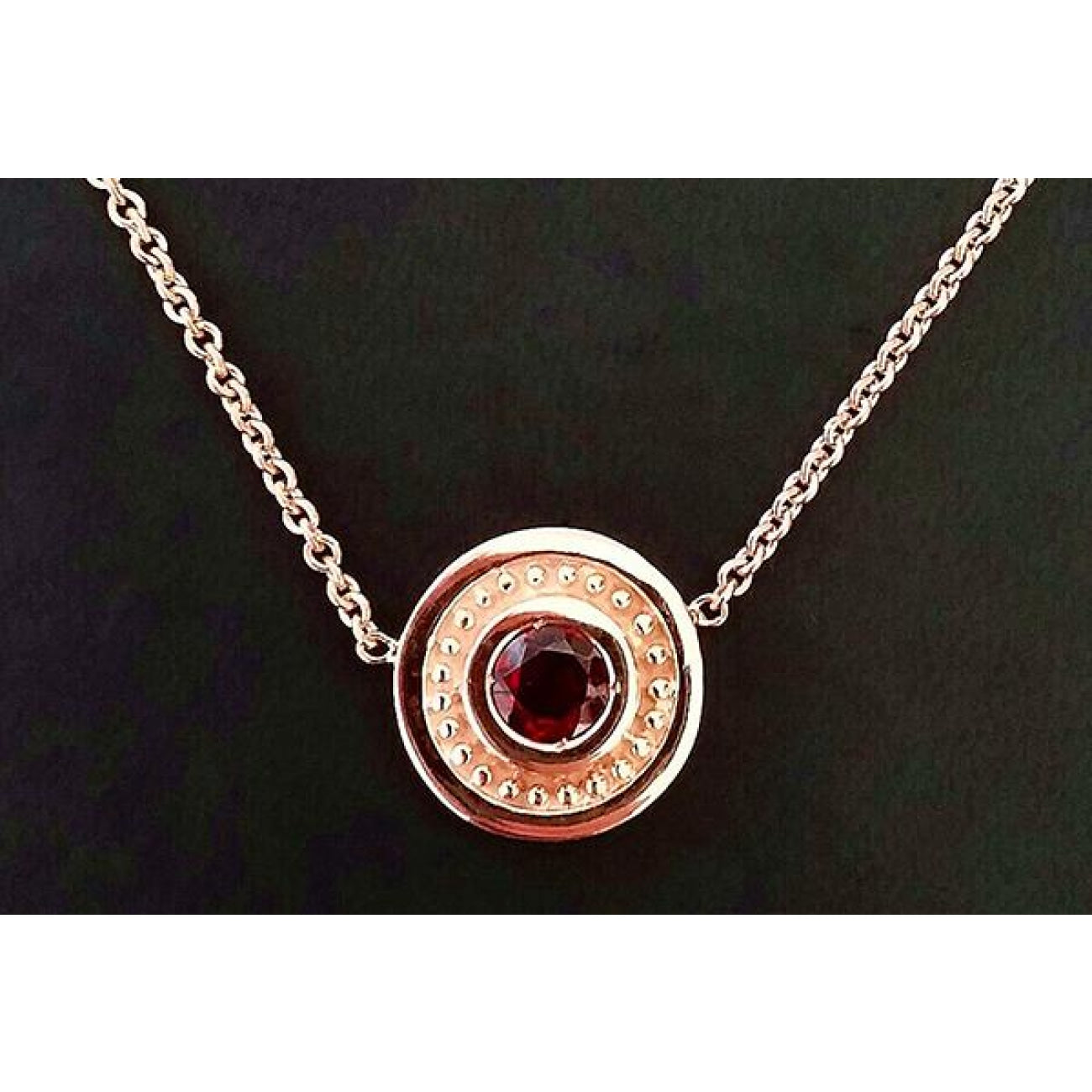 Manfredi Jewels Jewelry - Baz necklace with garnet plated in Rose Gold | Manfredi Jewels